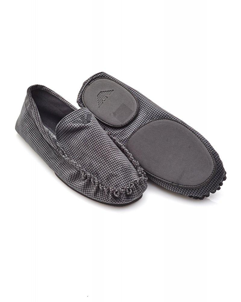 83bc52c64a8e Lyst - Emporio Armani Grey Houndstooth Moccasin Slippers in Gray for Men