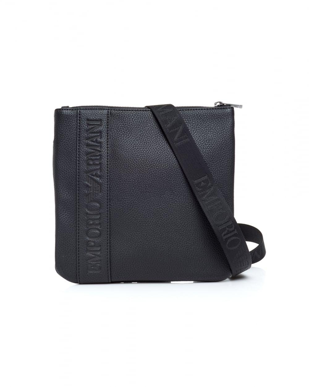 3fa821e7cb36 Lyst - Emporio Armani Horizontal Logo Band Black Crossbody Stash Bag ...
