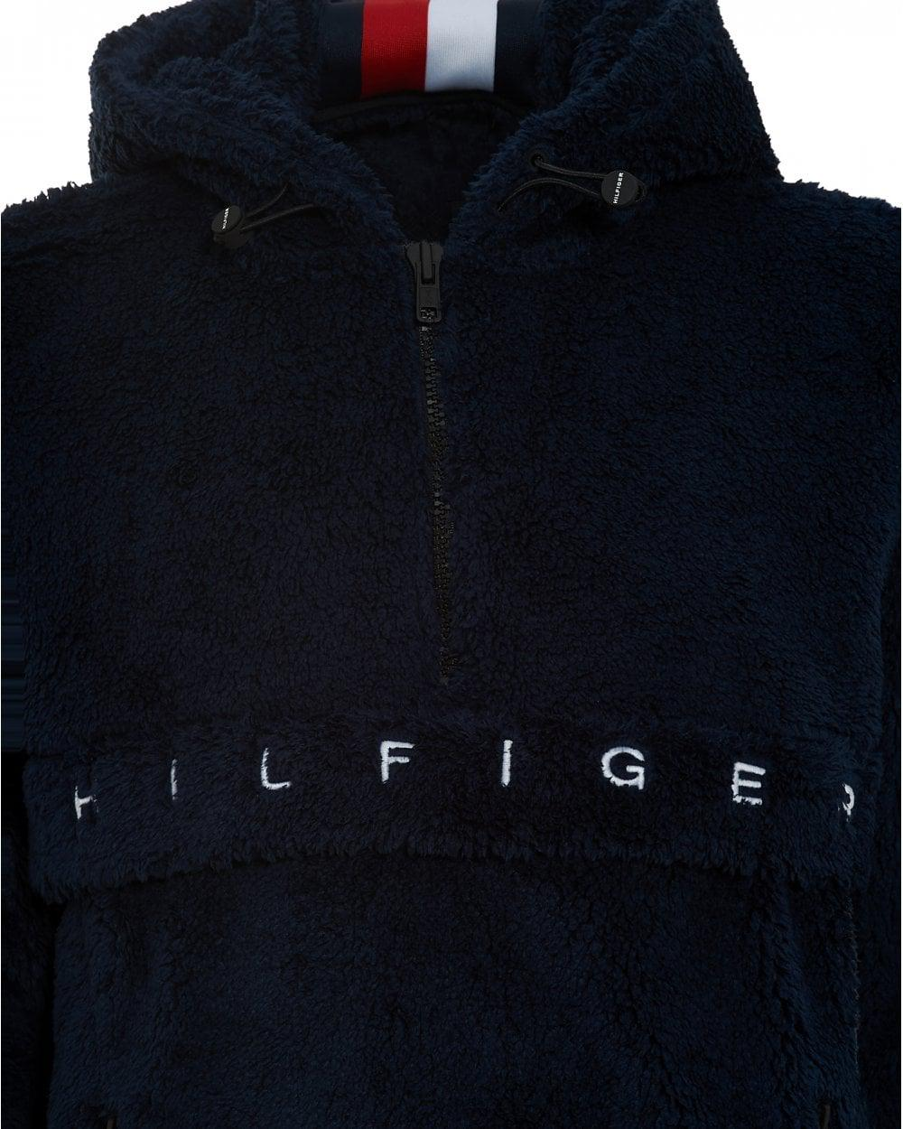 d98c51286 Tommy Hilfiger Teddy Hoodie, Sky Captain Navy Blue Hooded Sweat in ...