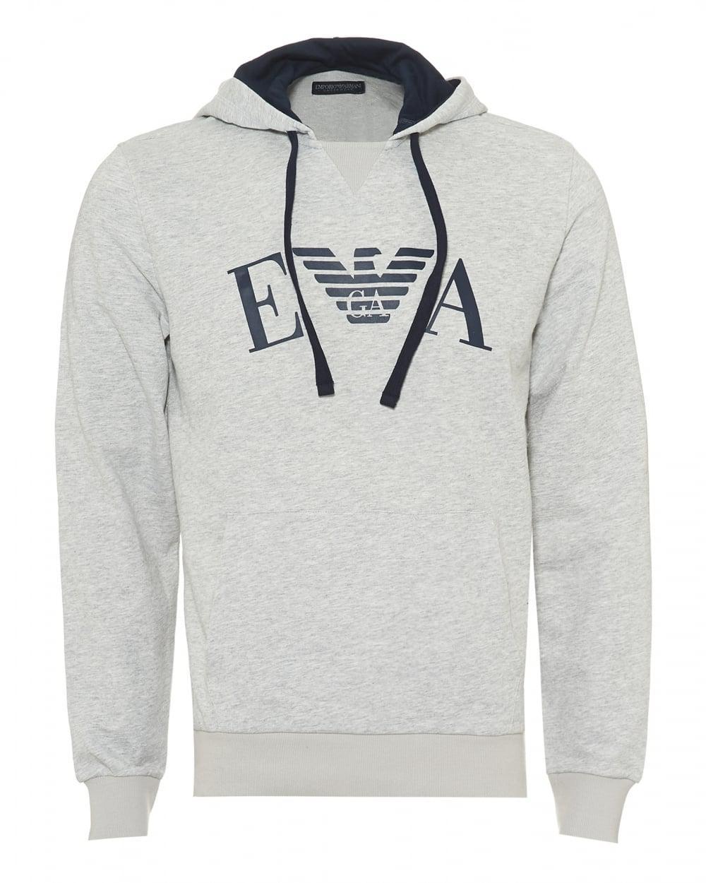 6c1cc5c3 Emporio Armani Overhead Hoodie, Ea Logo Front Grey Sweat in Gray for ...