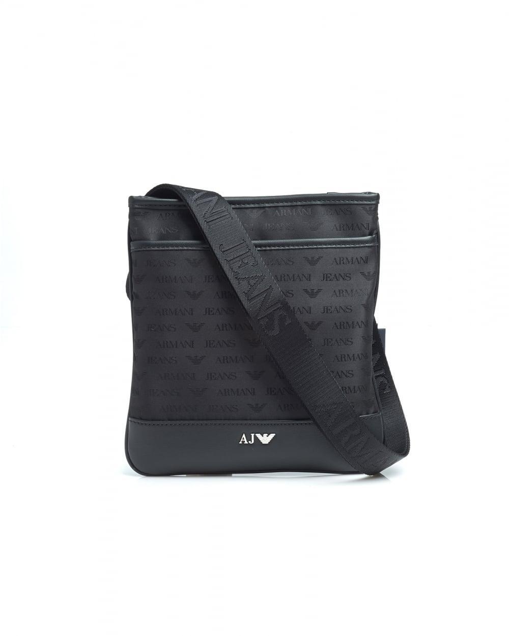 Lyst - Armani Jeans Black Small All Over Logo Stash Shoulder Bag in ... 84af1ceb85092