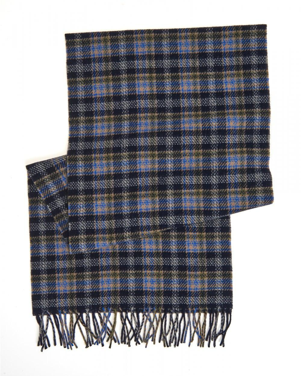 cb7016faccf Lyst - A.P.C. Denis Wool Checked Dark Navy Blue Scarf in Blue for Men