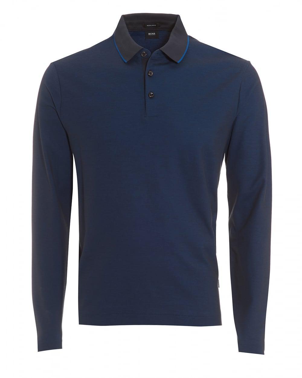 Lyst boss black pado 05 polo long sleeved tipped navy for Mens navy polo shirt