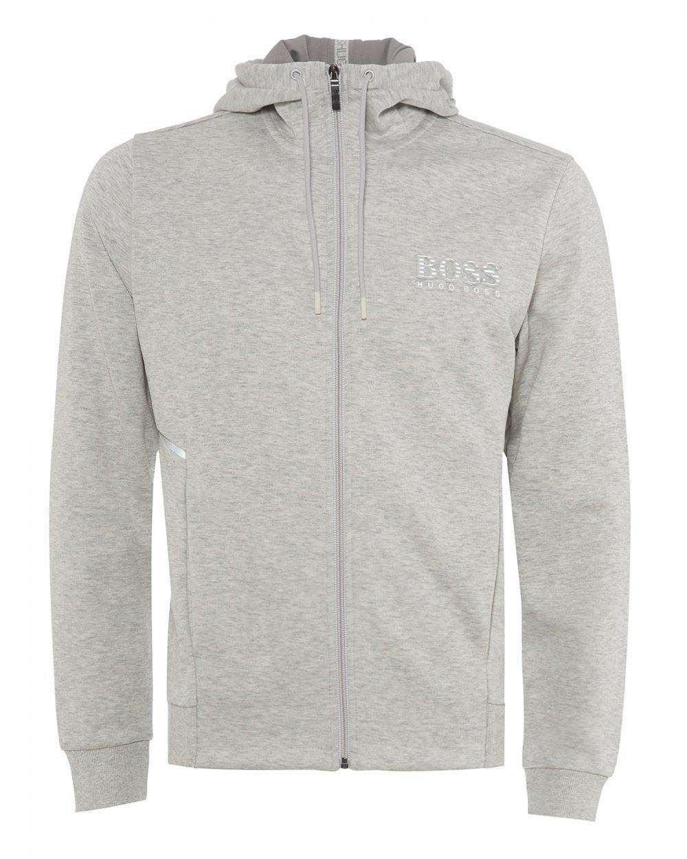 91b7b64f1 BOSS - Gray Saggy Hooded Sweatshirt, Striped Logo Hoodie for Men - Lyst.  View fullscreen