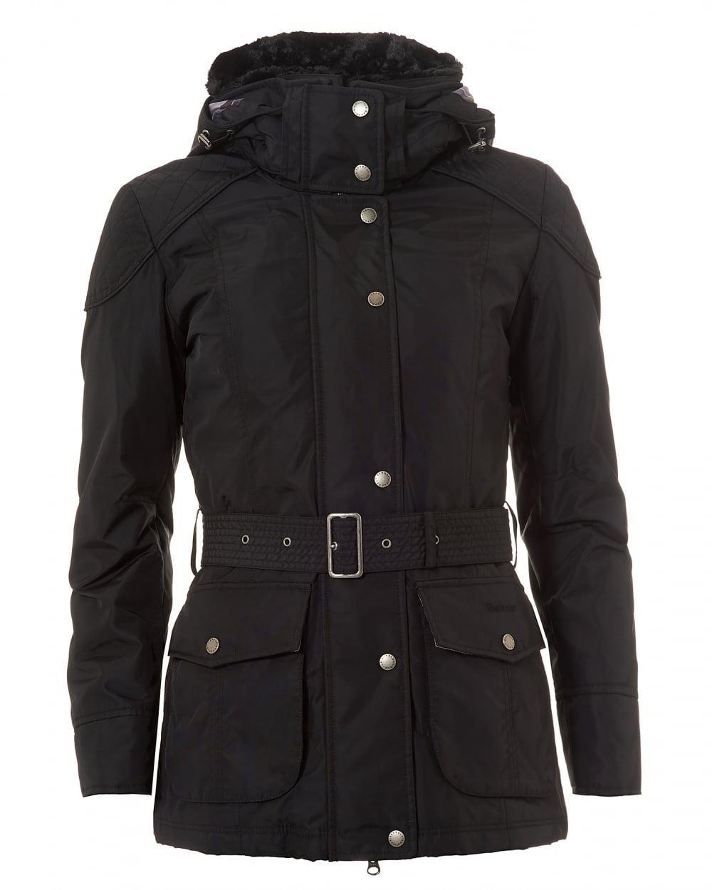 barbour international outlaw faux fur collar jacket black