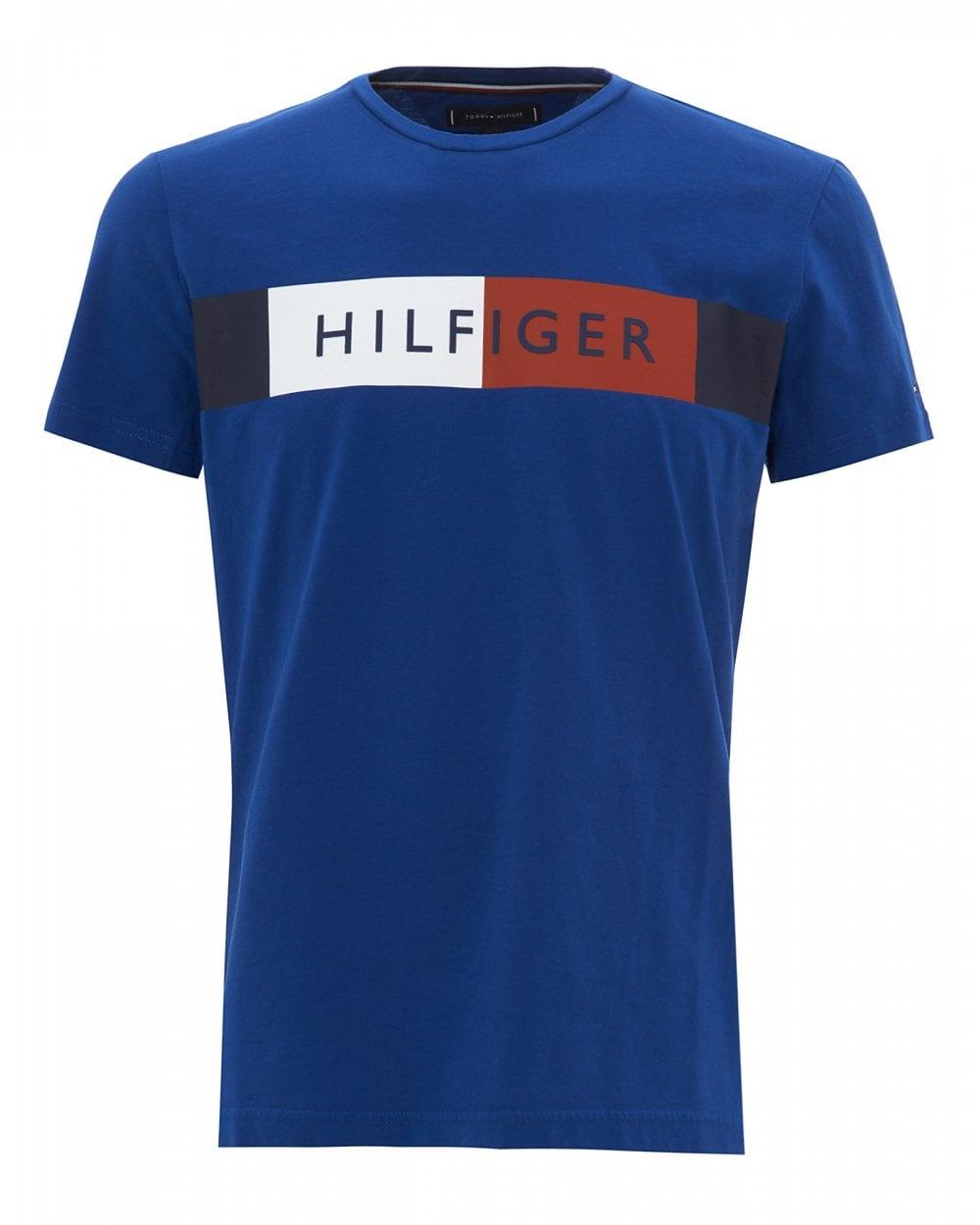 5f1abfe6b Tommy Hilfiger Chest Stripe T-shirt, Colour Block Blue Tee in Blue ...
