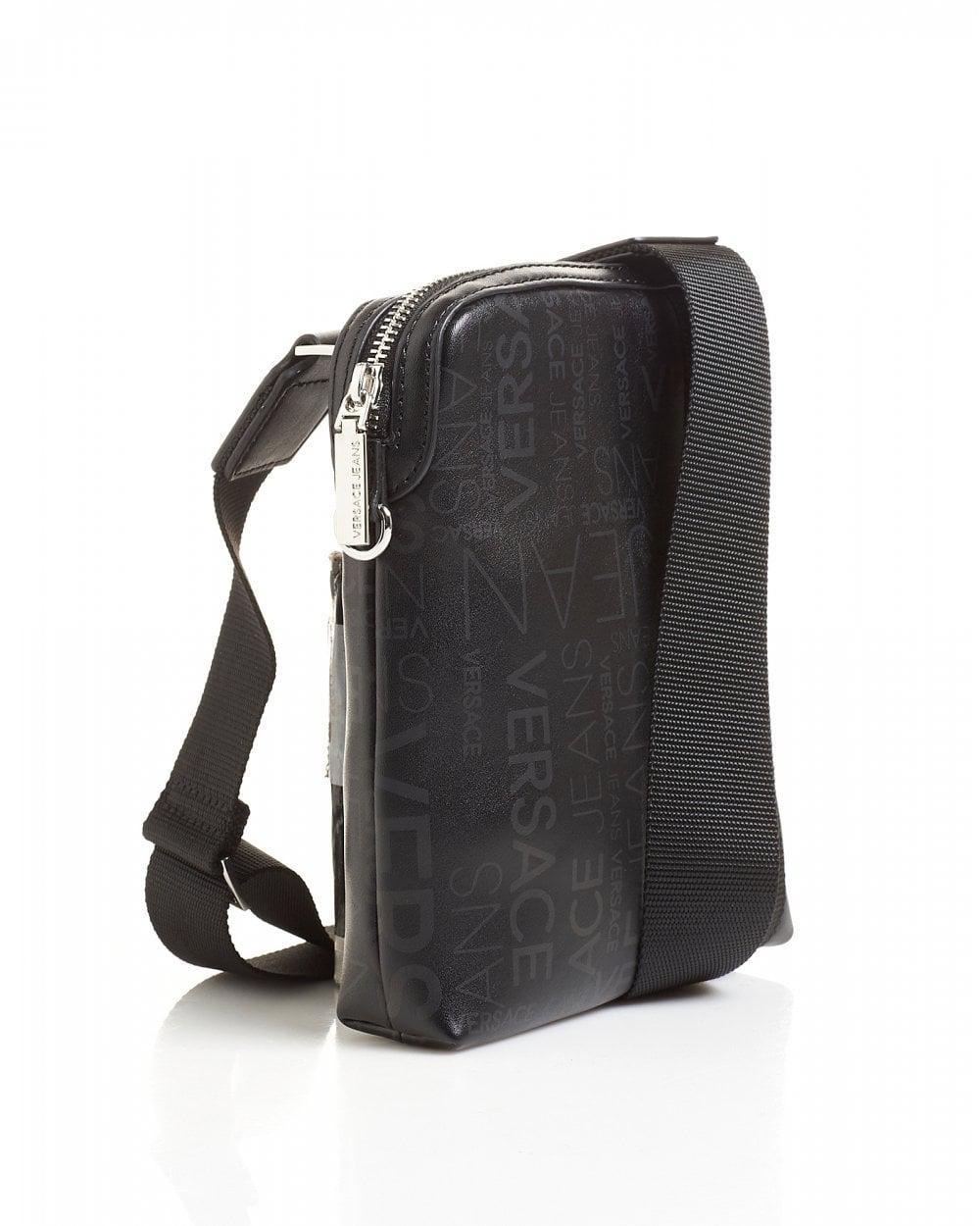 Lyst - Versace Jeans All Over Logo Printed Black Stash Bag in Black for Men 23099d47ea670