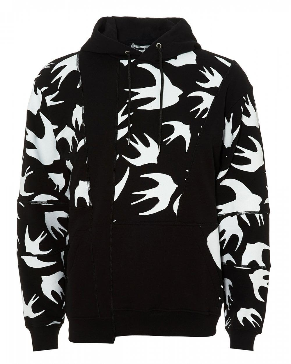 e797f2575d5 McQ Inverted Swallow-print Cotton-jersey Hoody in Black for Men ...