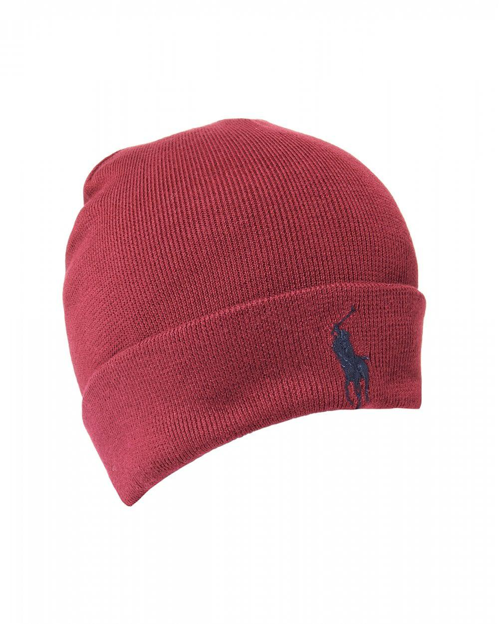 4fa6620a1 Ralph Lauren Large Logo Classic Wine Red Beanie Hat in Red for Men ...
