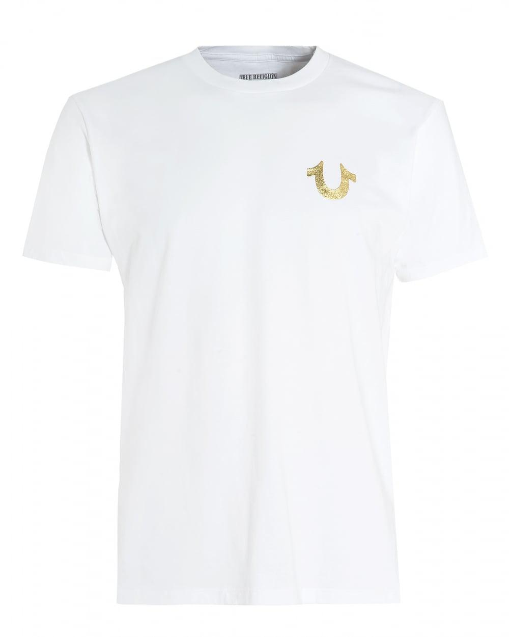 Lyst - True Religion White T-shirt, Gold Foil Buddha ...