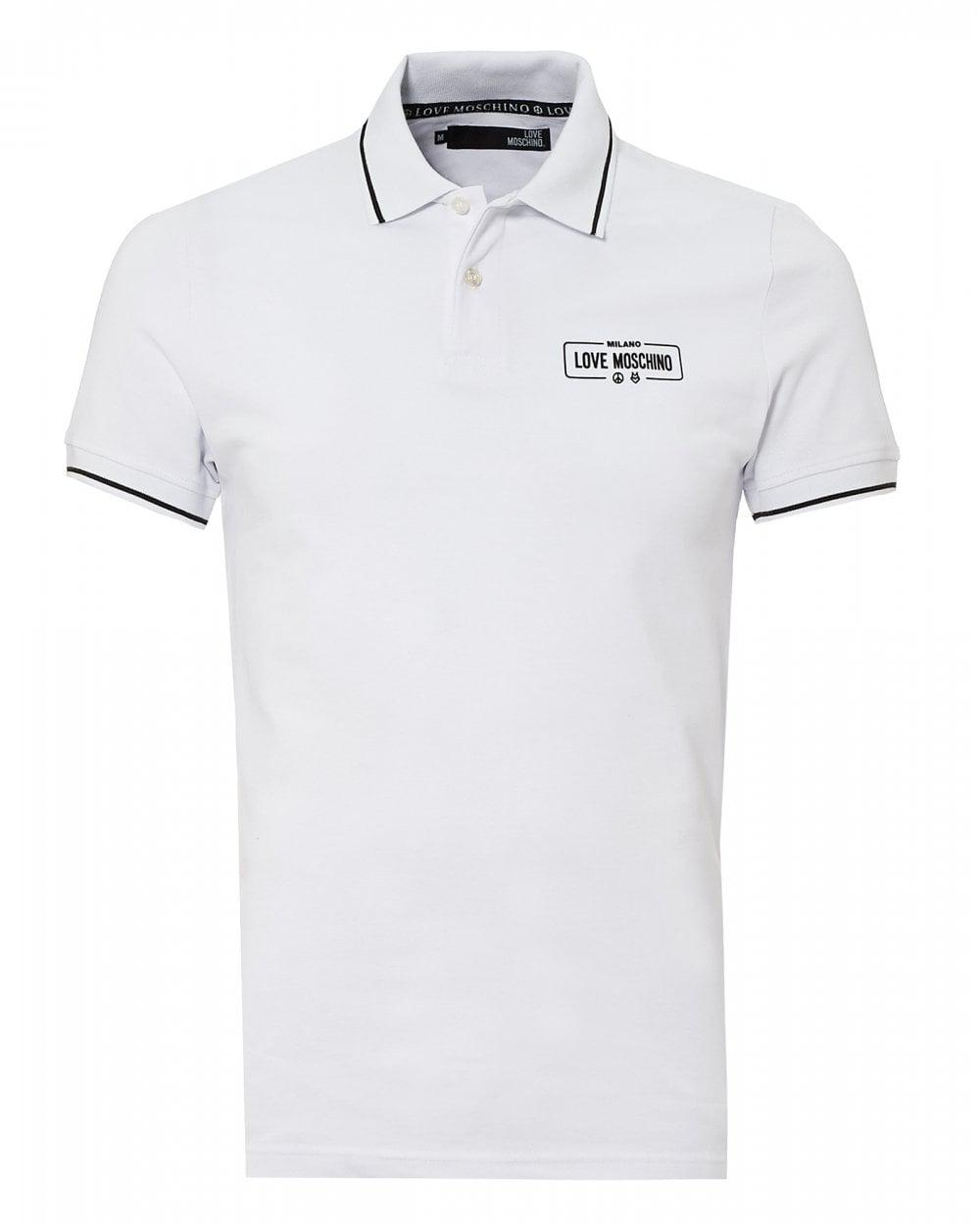 ace938f84d Love Moschino Rubber Logo Polo Shirt, Slim Fit White Polo in White ...