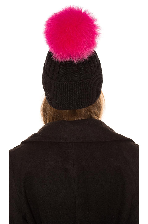 fdb9a0bf1b013 Jocelyn - Black Knit Hat With Fox Fur Pom - Lyst. View fullscreen