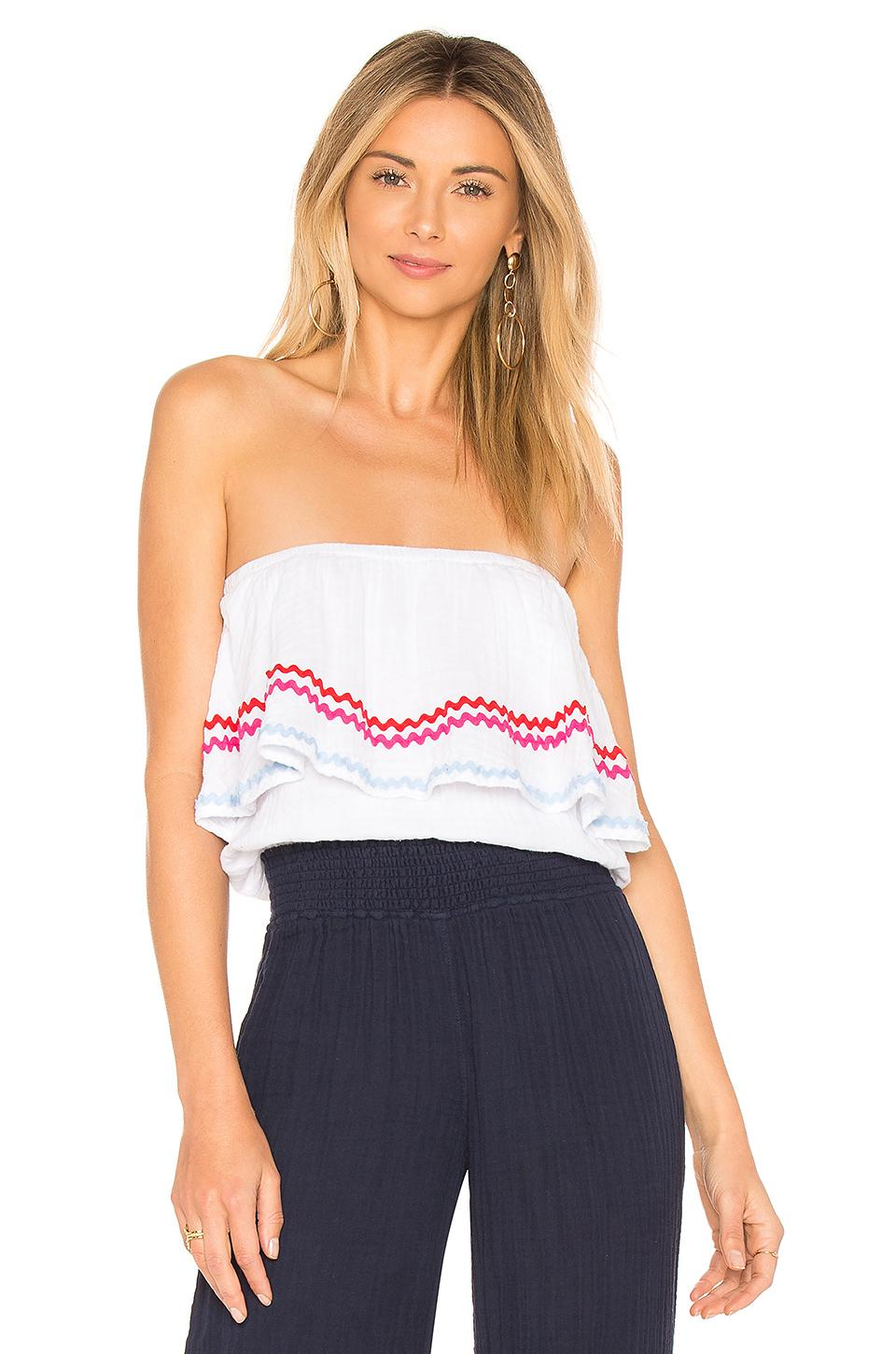678d77f2304 Lyst - Michael Stars Ric Rac Double Gauze Top in White