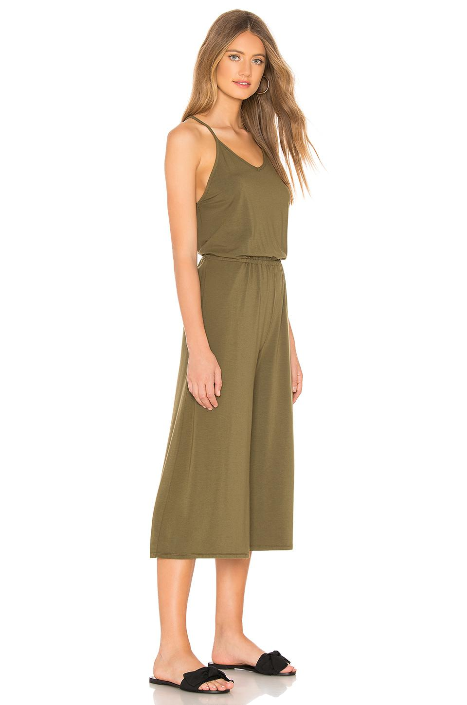 Lyst Bobi Cropped Jumpsuit In Olive In Green