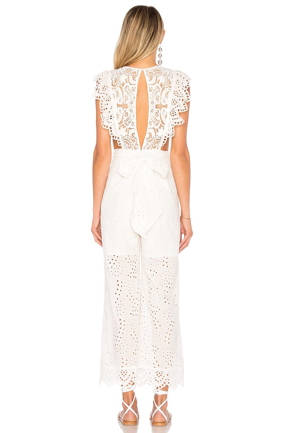 d18d66b81f1 Lyst - Nightcap Eyelet Apron Jumpsuit in White
