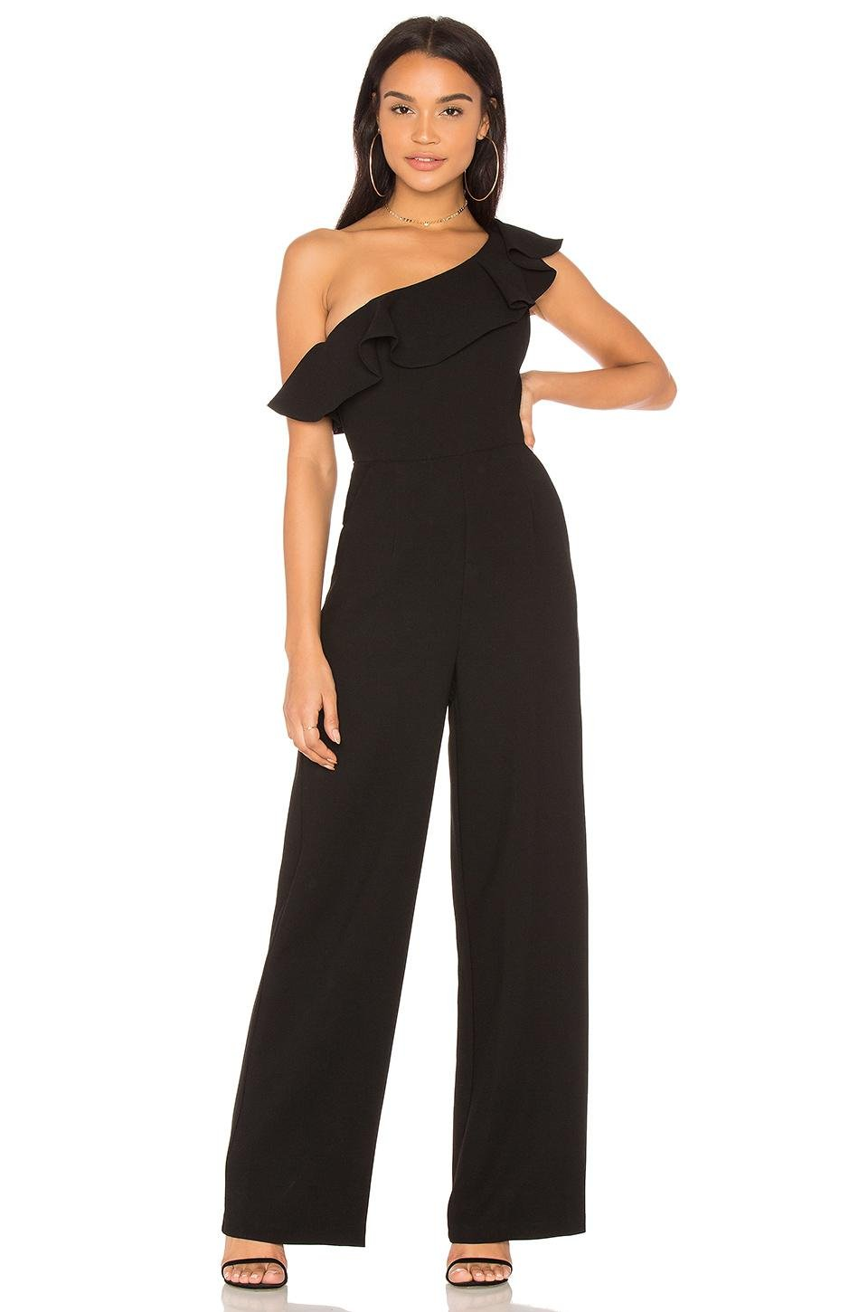 6f006fac2a6a Bcbgeneration One Shoulder Ruffle Jumpsuit in Black - Lyst