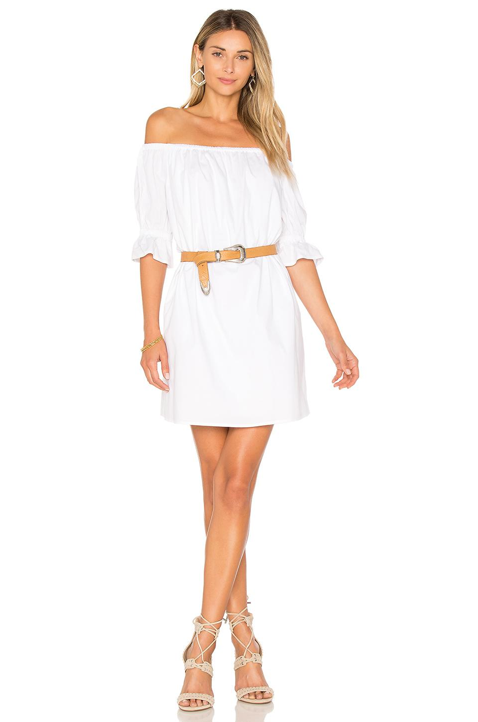 9bb808934041 Lyst - 1.STATE Off Shoulder Smocked Sleeve Shift Dress in White