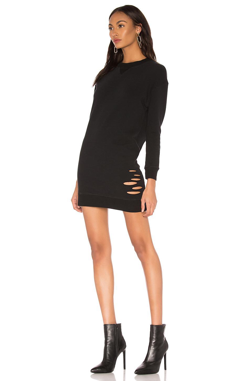 b88a7a0cb10 Monrow - Distressed Sweatshirt Dress In Black - Lyst. View fullscreen