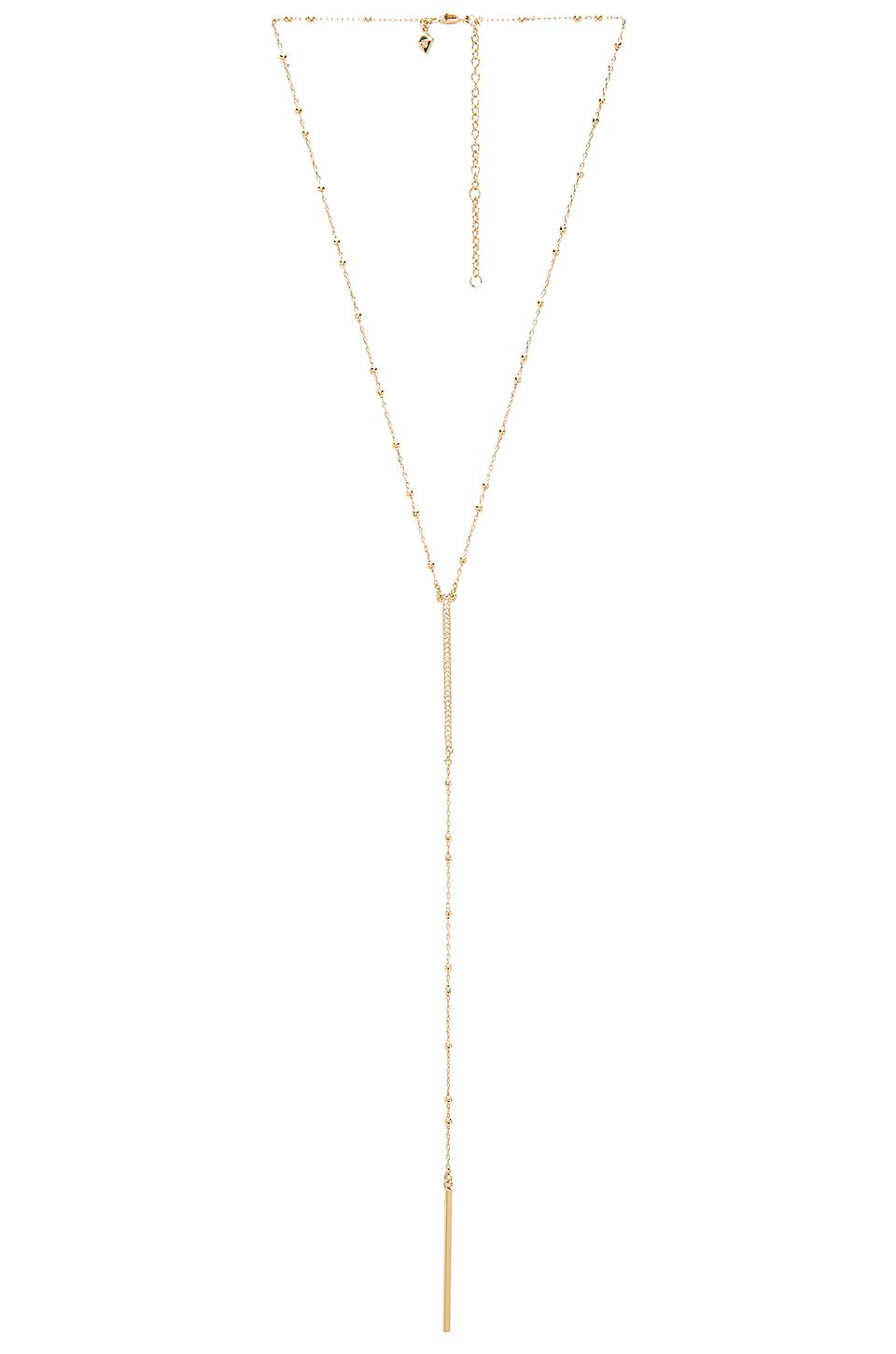 Rebecca Minkoff Beaded Pave Bar Necklace in Metallic Gold bENawIh