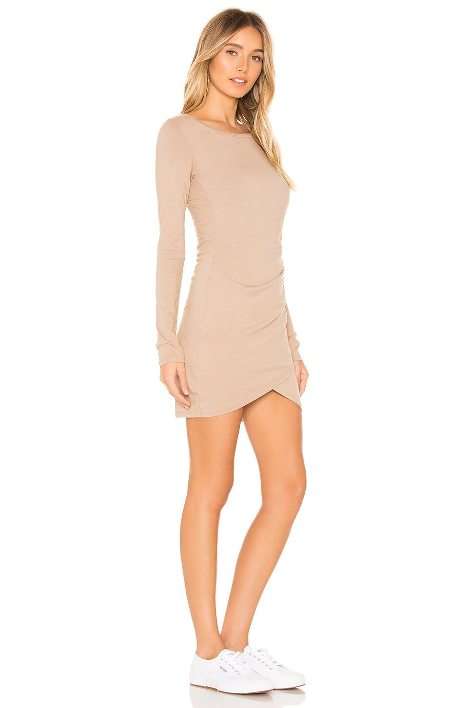 Bobi Multicolor Supreme Jersey Ruched Bodycon Dress In Tan Lyst View Fullscreen