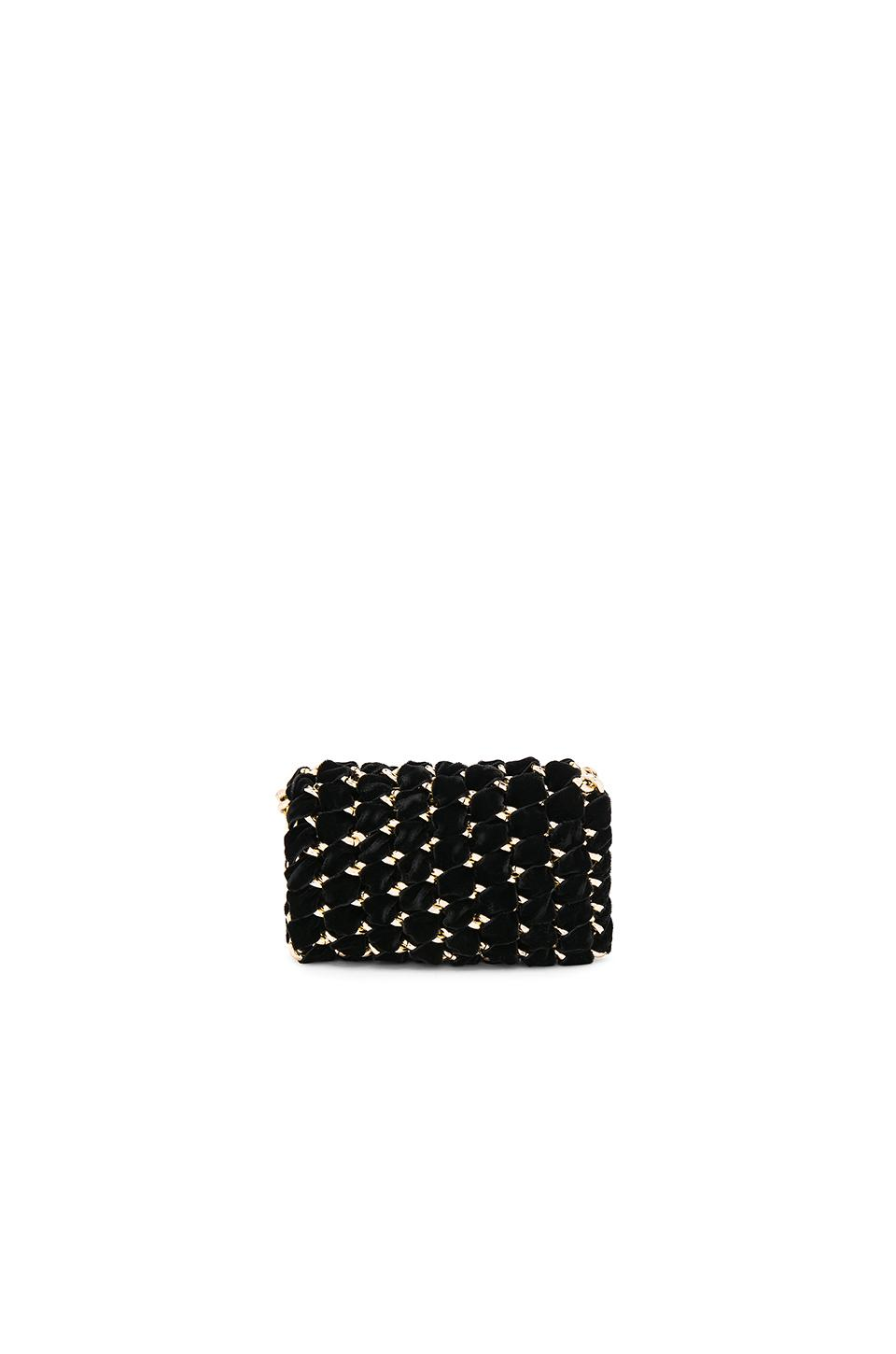 b4caa223cfc Lyst - TAMBONITA Micro Eve Velvet Clutch With Gold Chain in Black