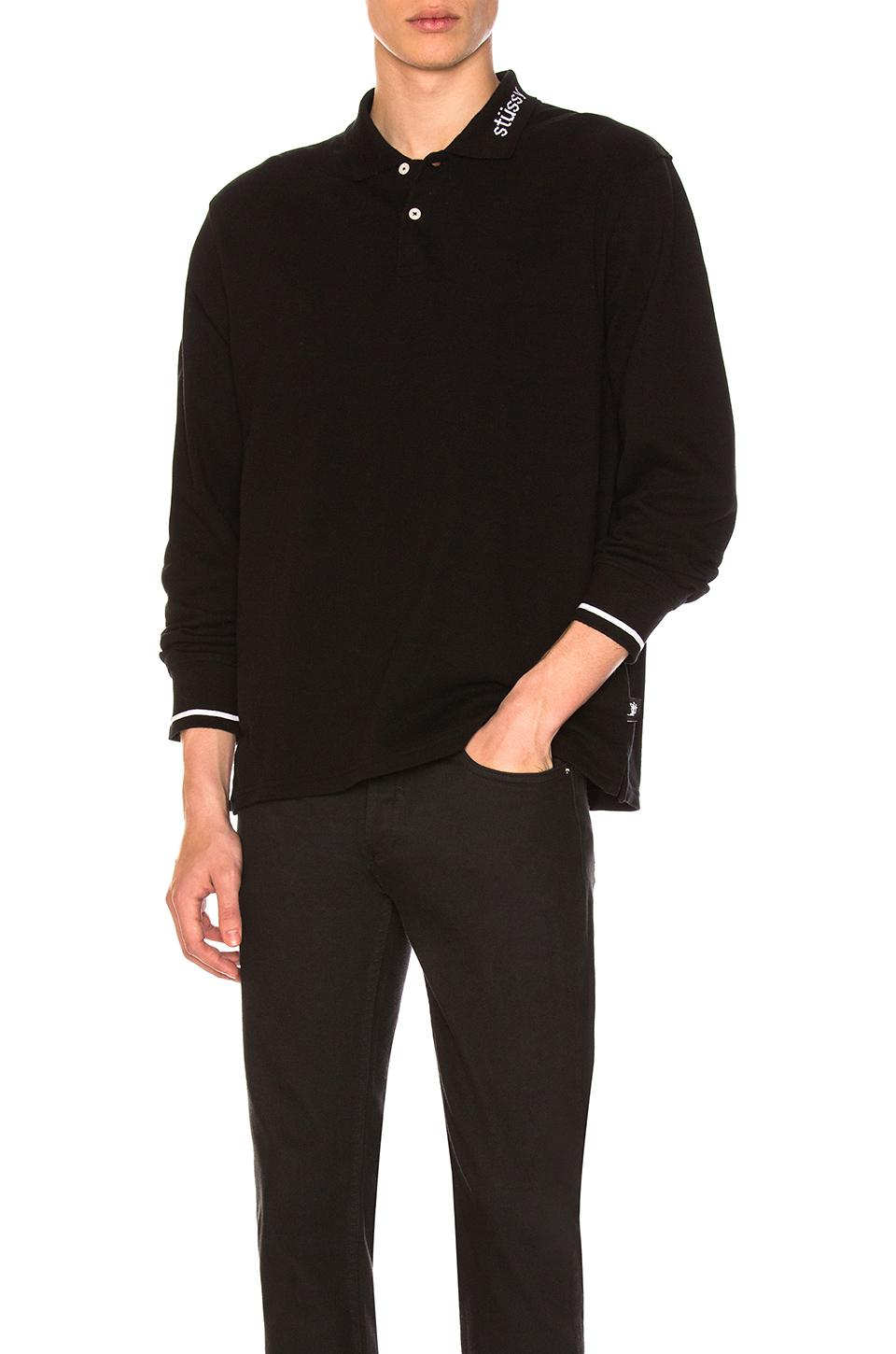 2a35b9b46f927 Stussy Heavy Pique Long Sleeve Polo in Black for Men - Lyst