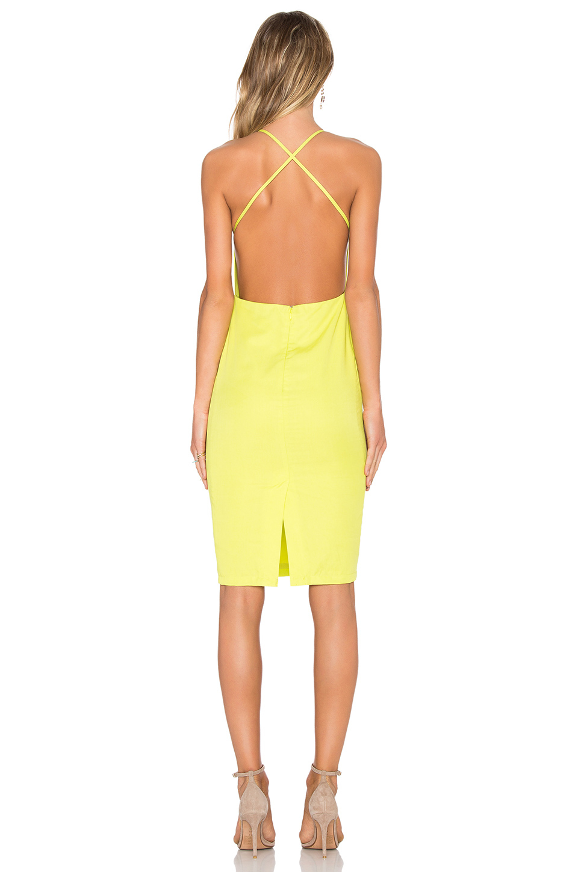 Blaque label X Back Midi Dress in Yellow (Citrus)