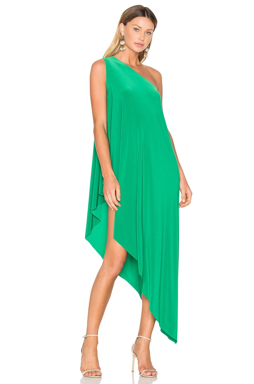 norma kamali diagonal tunic in green lyst