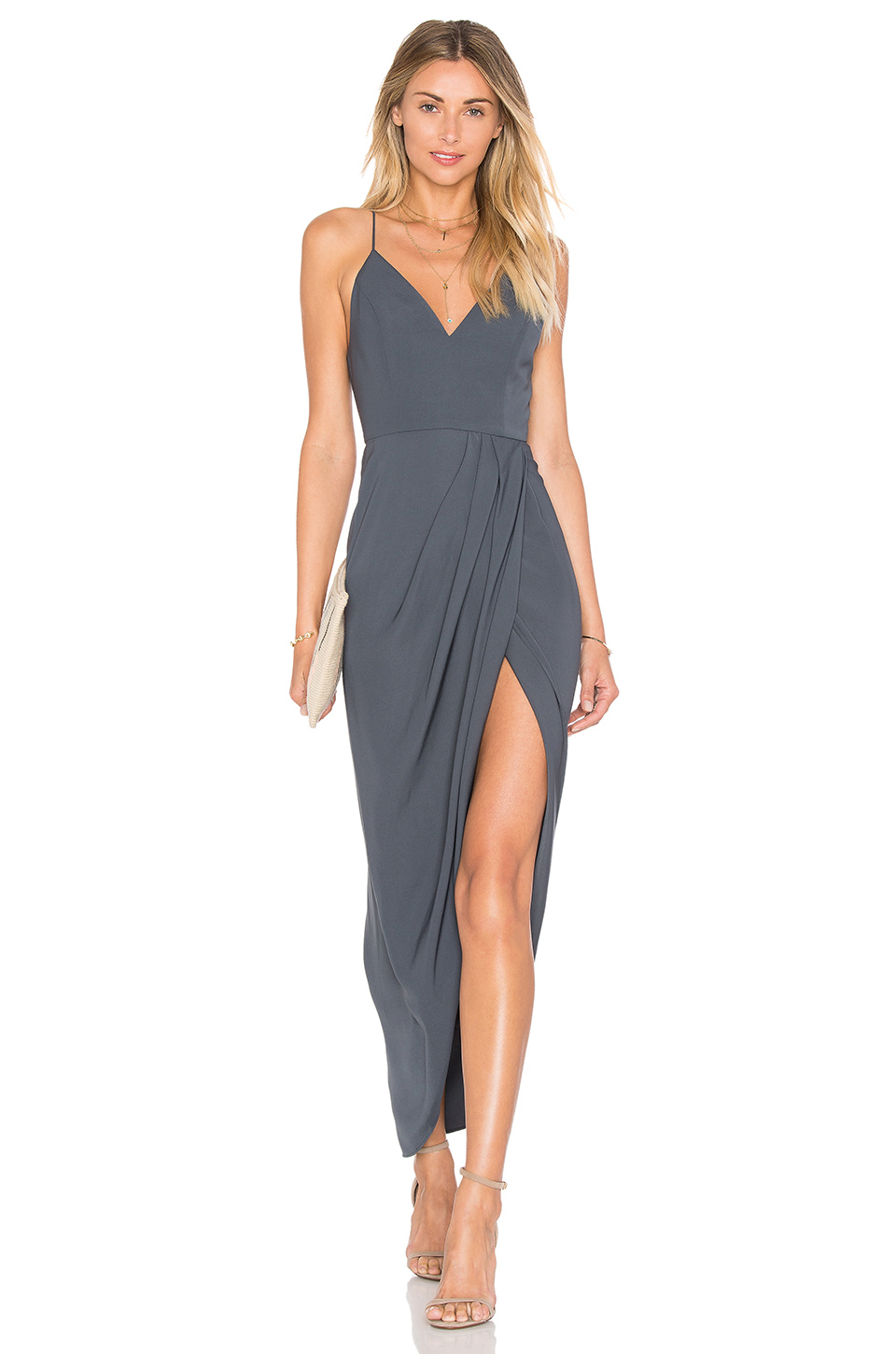 Shona joy Stellar Drape Dress in Gray | Lyst