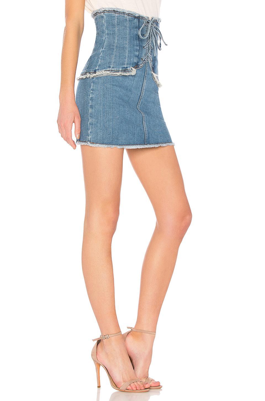 fine quality picked up greatvarieties Bardot Blue X Revolve Corset Denim Skirt