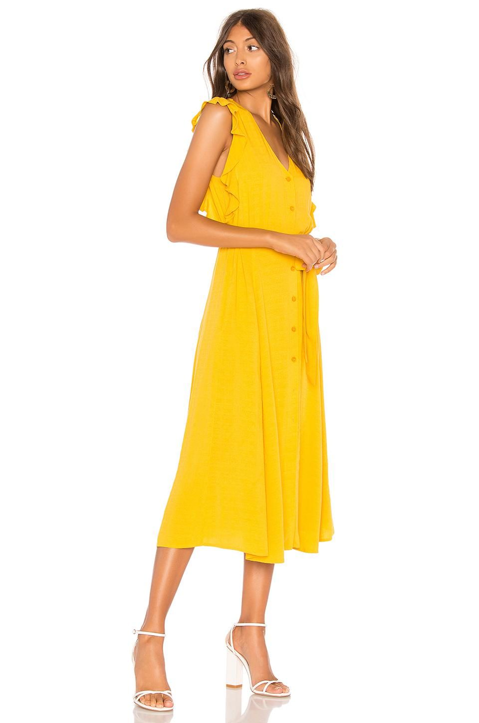 6ae58944b4 1.STATE Button Down Midi Dress in Yellow - Lyst