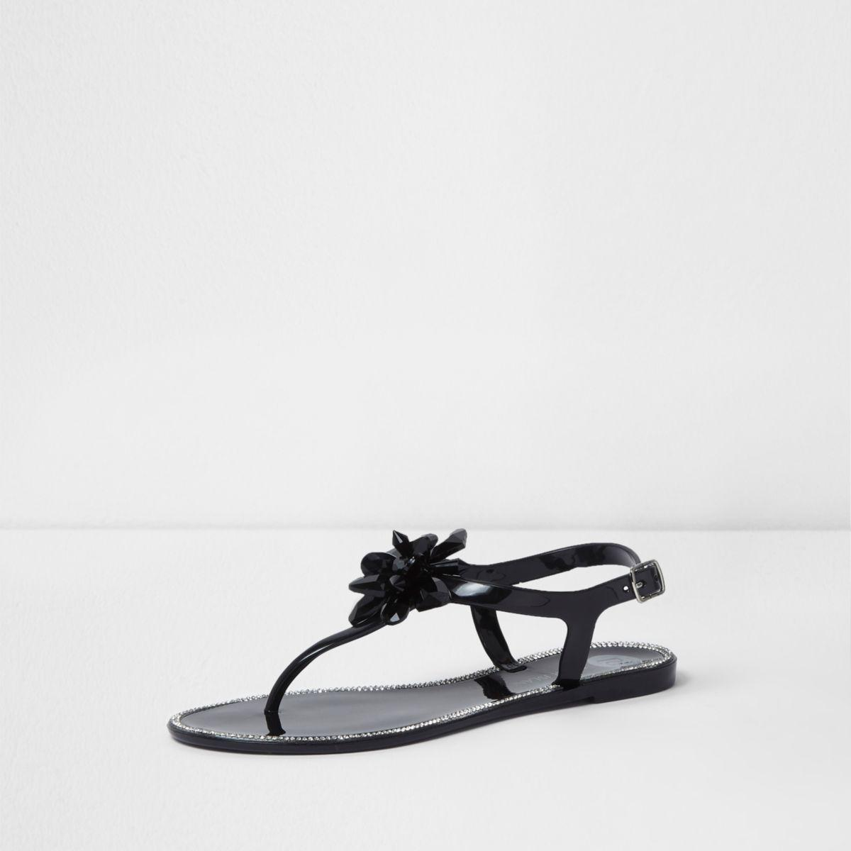 Hurry Up Drop Shipping Womens Black jelly jewel flower sandals River Island Visit New Cheap Online dt7nQ