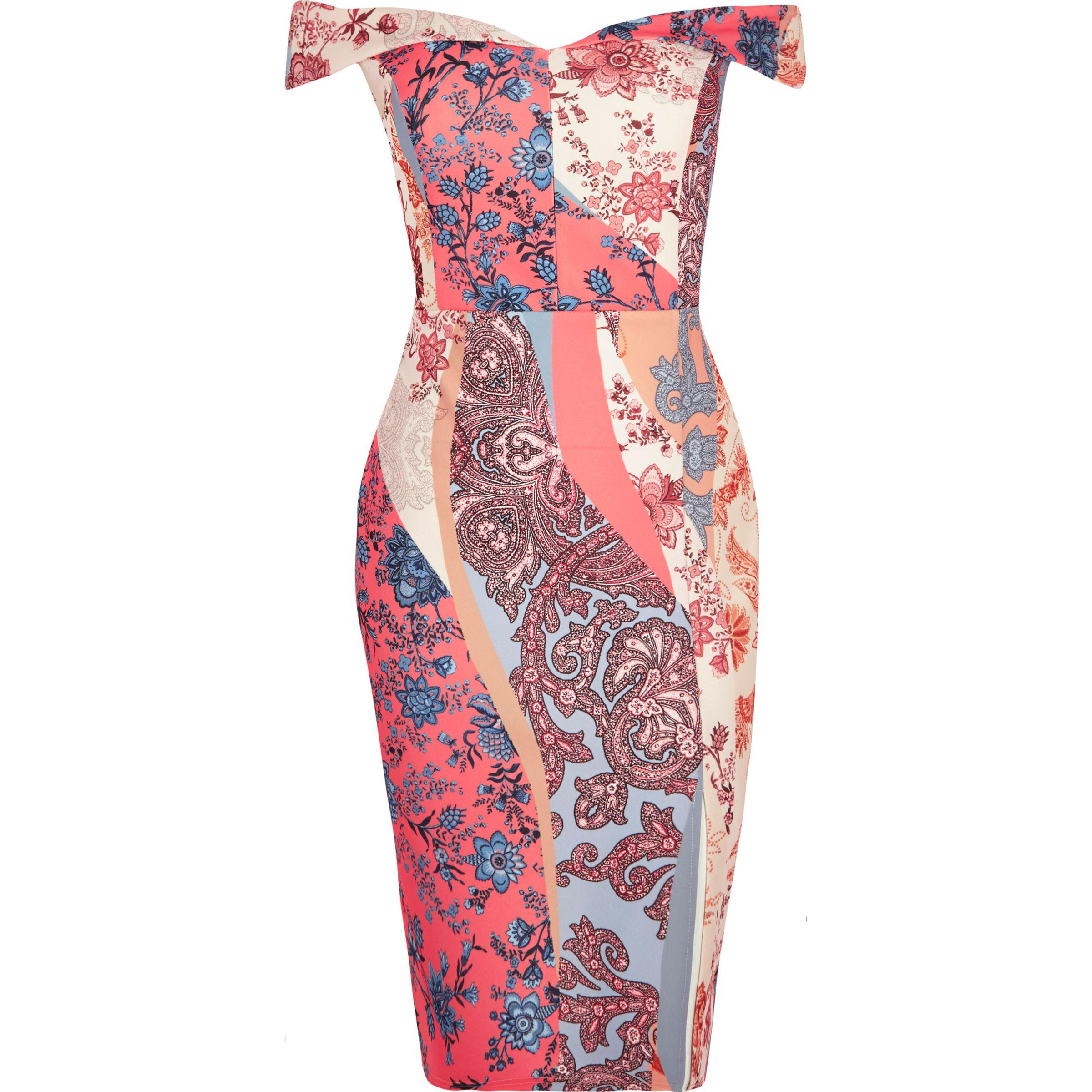 55834c975032 Lyst - River Island Ri Plus Pink Floral Print Bardot Dress in Pink
