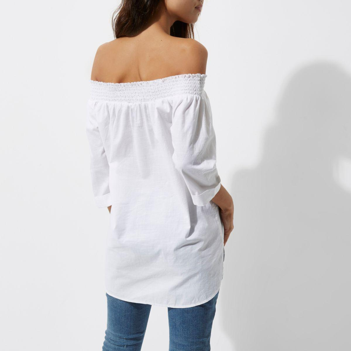 4d5fb2c242d79 Lyst - River Island White Shirred Bardot Button Front Shirt in White