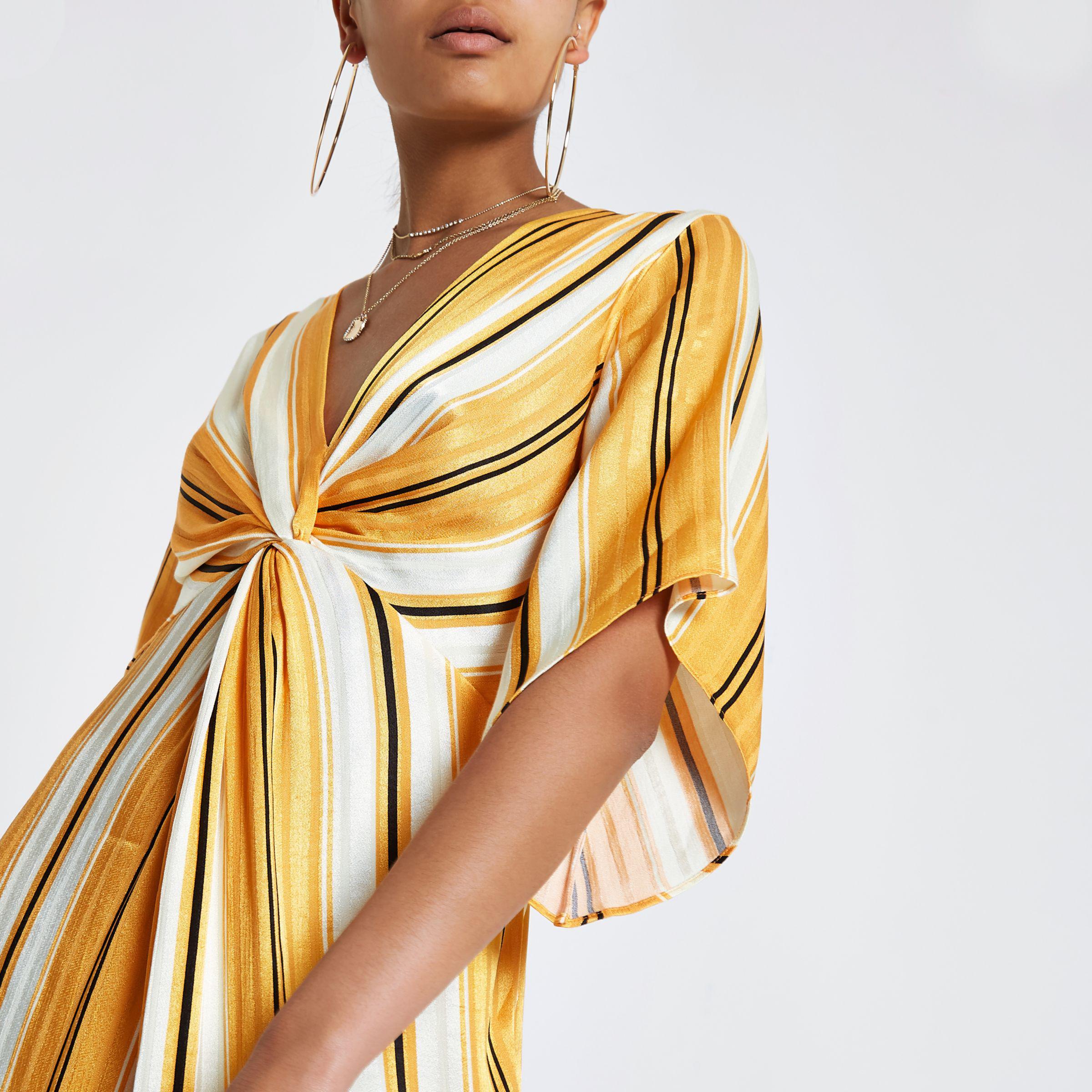 9ee0d51d8373 Lyst - River Island Yellow Stripe Twist Front Maxi Dress in Yellow