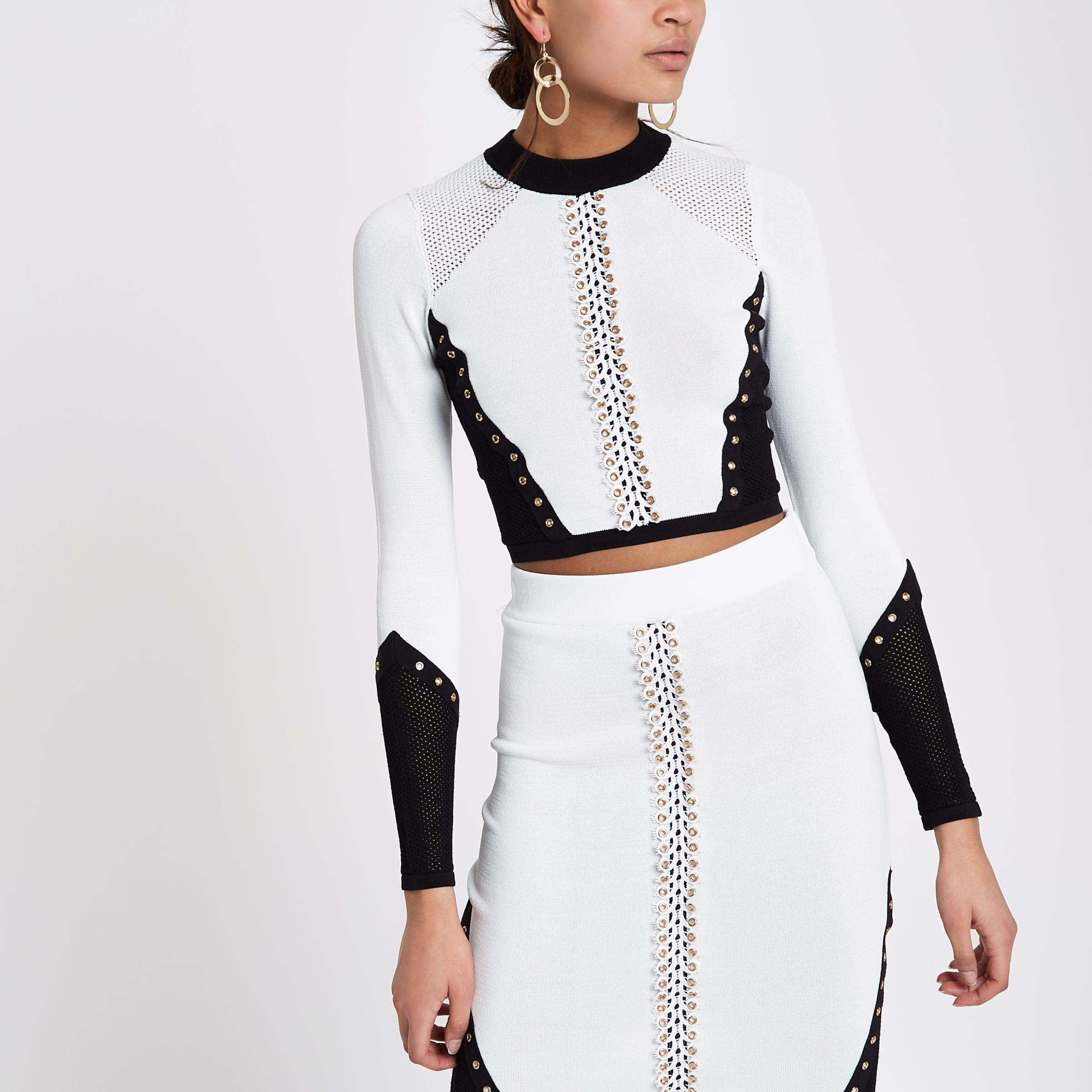 cc8881ff4d1 River Island White Blocked Eyelet Knitted Crop Top in White - Lyst
