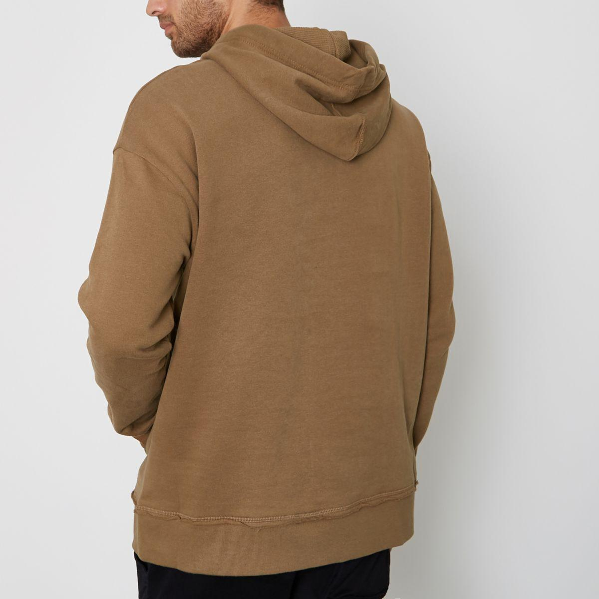 Lyst River Island Tan Ripped Oversized Hoodie Tan Ripped