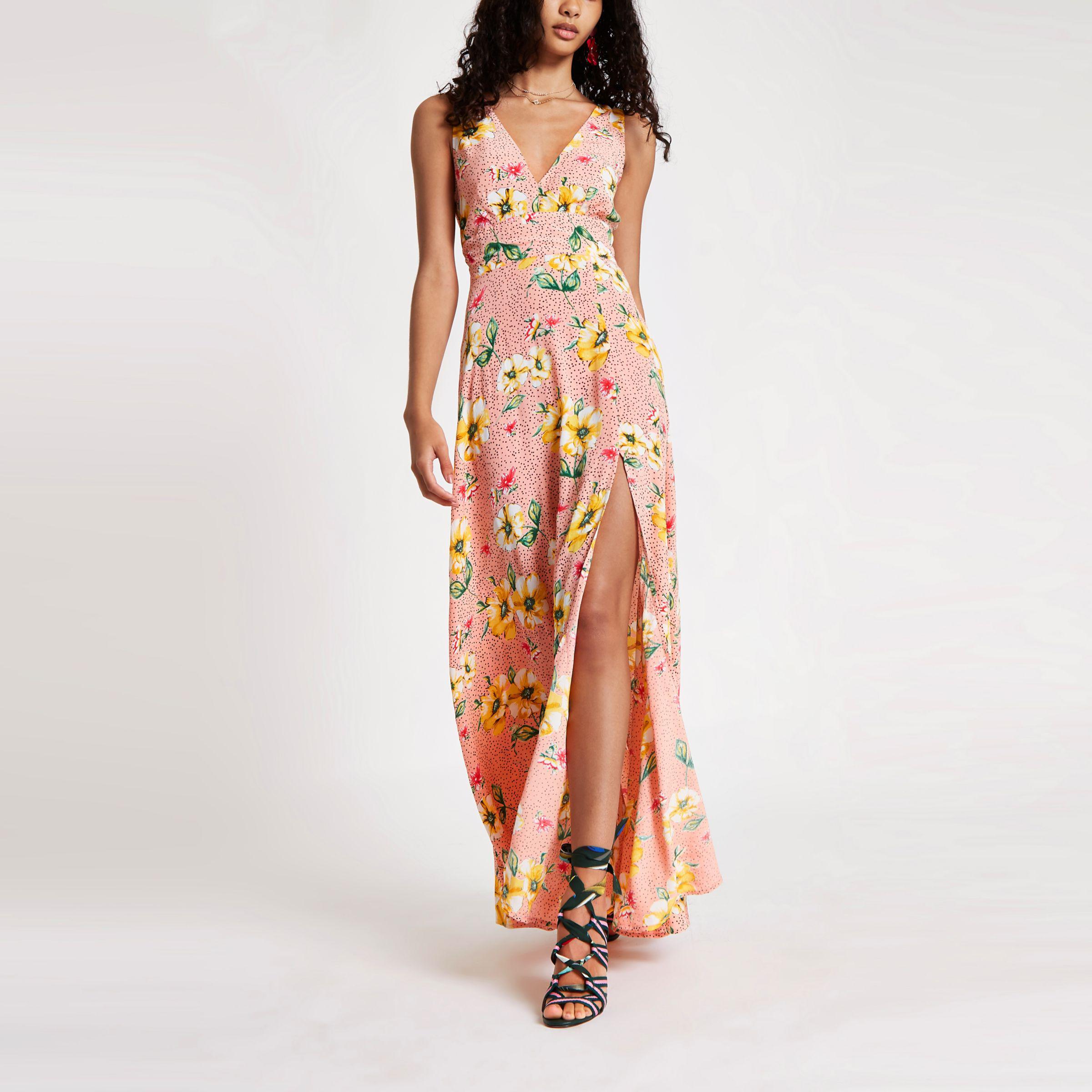 Womens Pink floral tie back plunge maxi dress River Island fDA3hyB8FK