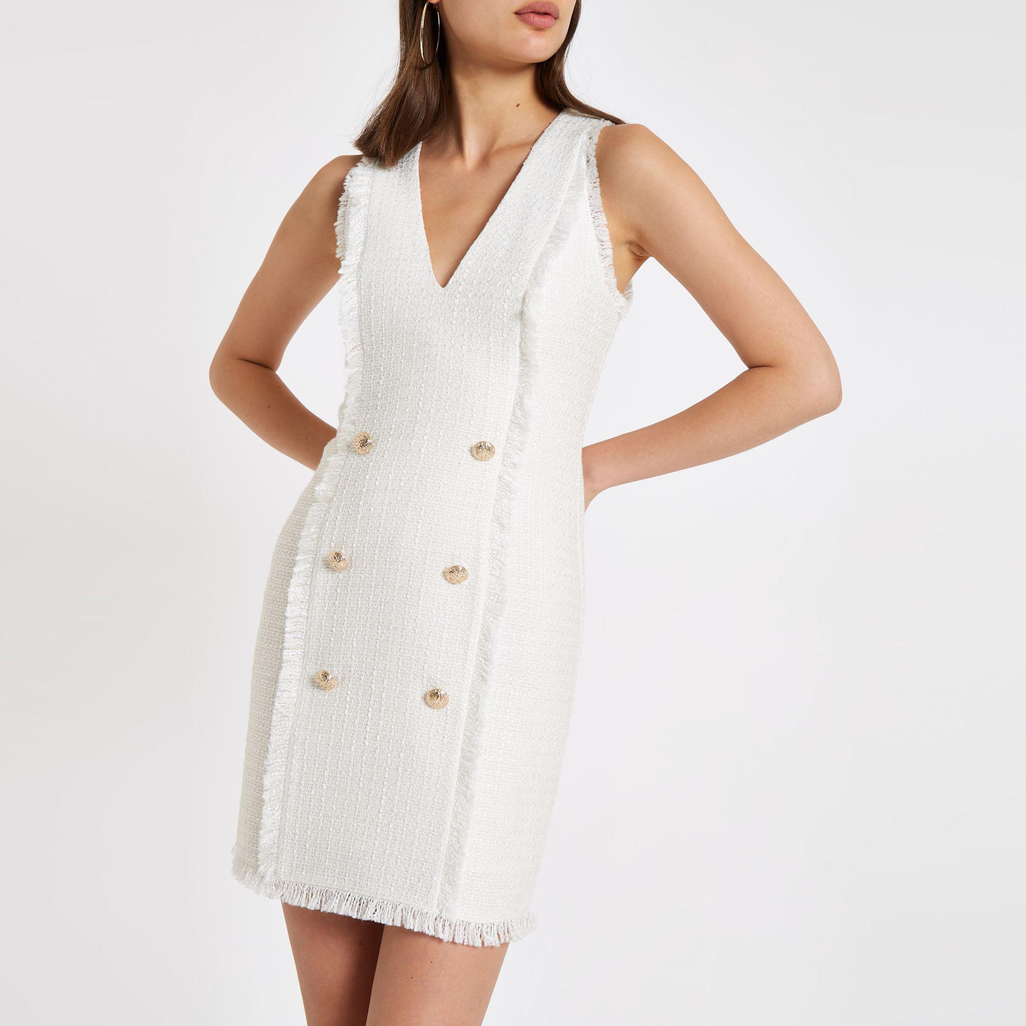 71d5dd82d49 River Island White Boucle Mini Bodycon Dress in White - Lyst