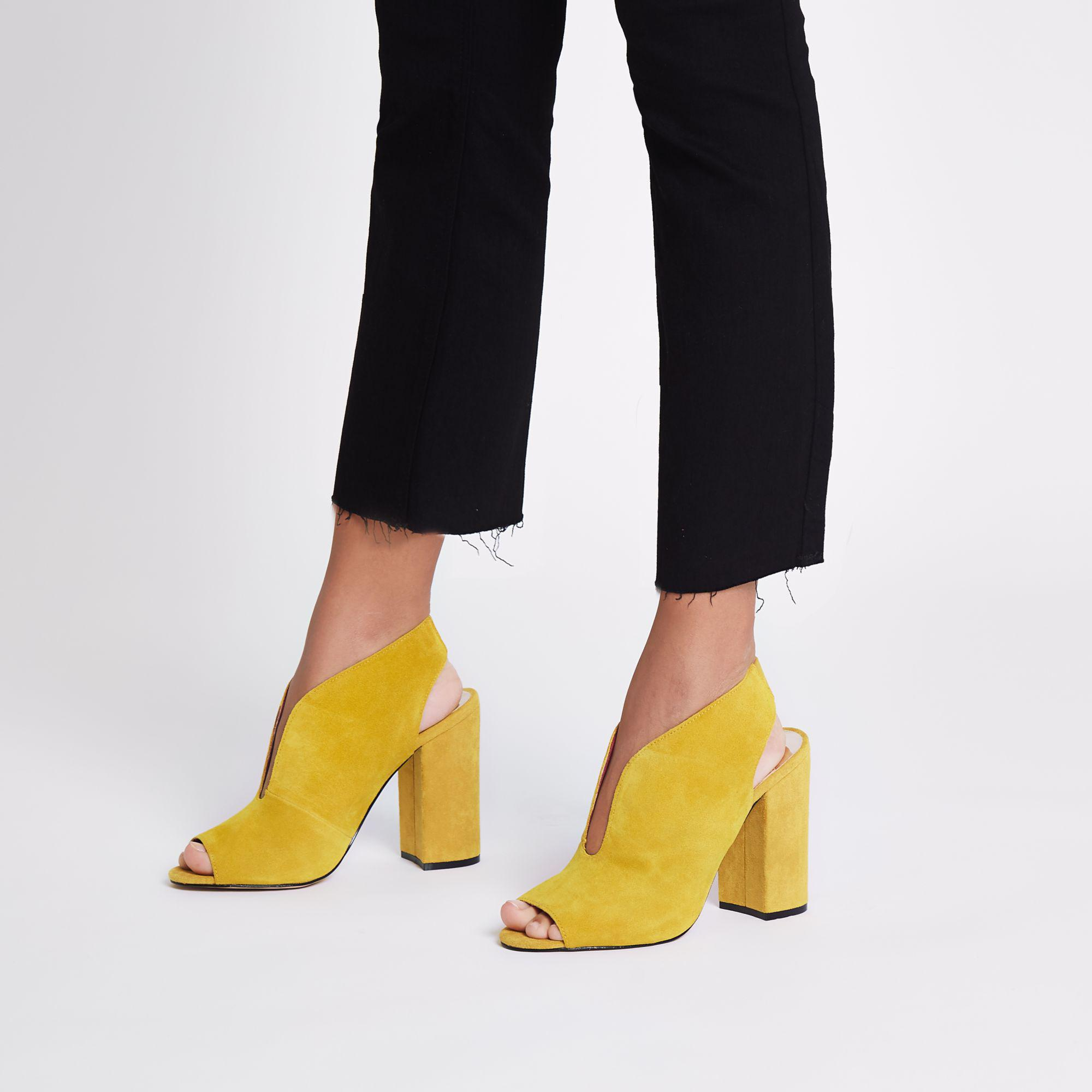 7414487203a River Island Yellow Suede Curve Vamp Block Heel Shoe Boots in Yellow ...