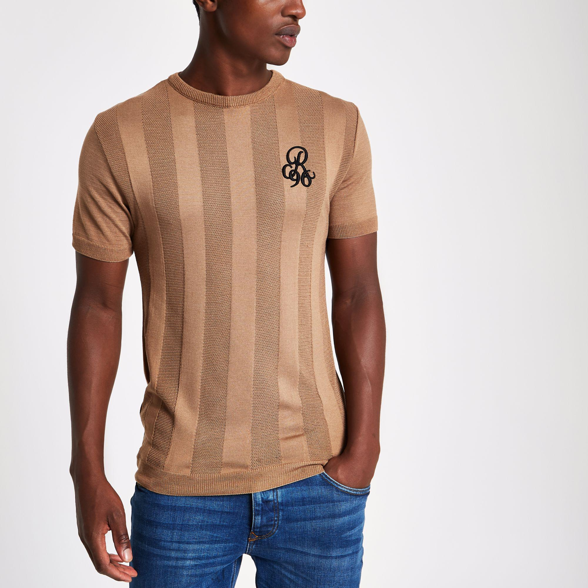 4cc85d0fa River Island Light R96 Muscle Fit T-shirt in Brown for Men - Lyst
