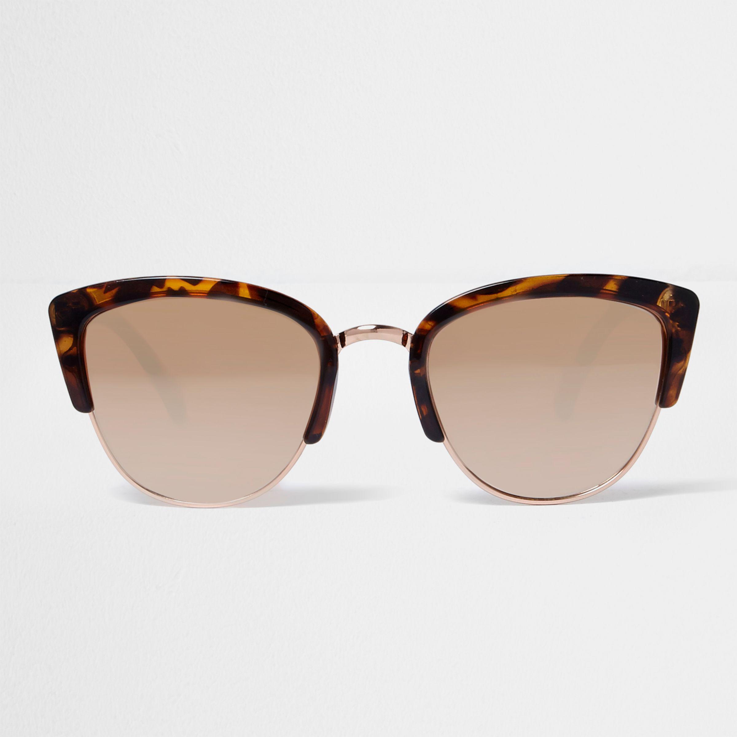 c46358cef9f River island brown leopard print mirror lens sunglasses in brown lyst jpg  2400x2400 Leopard trim mirror