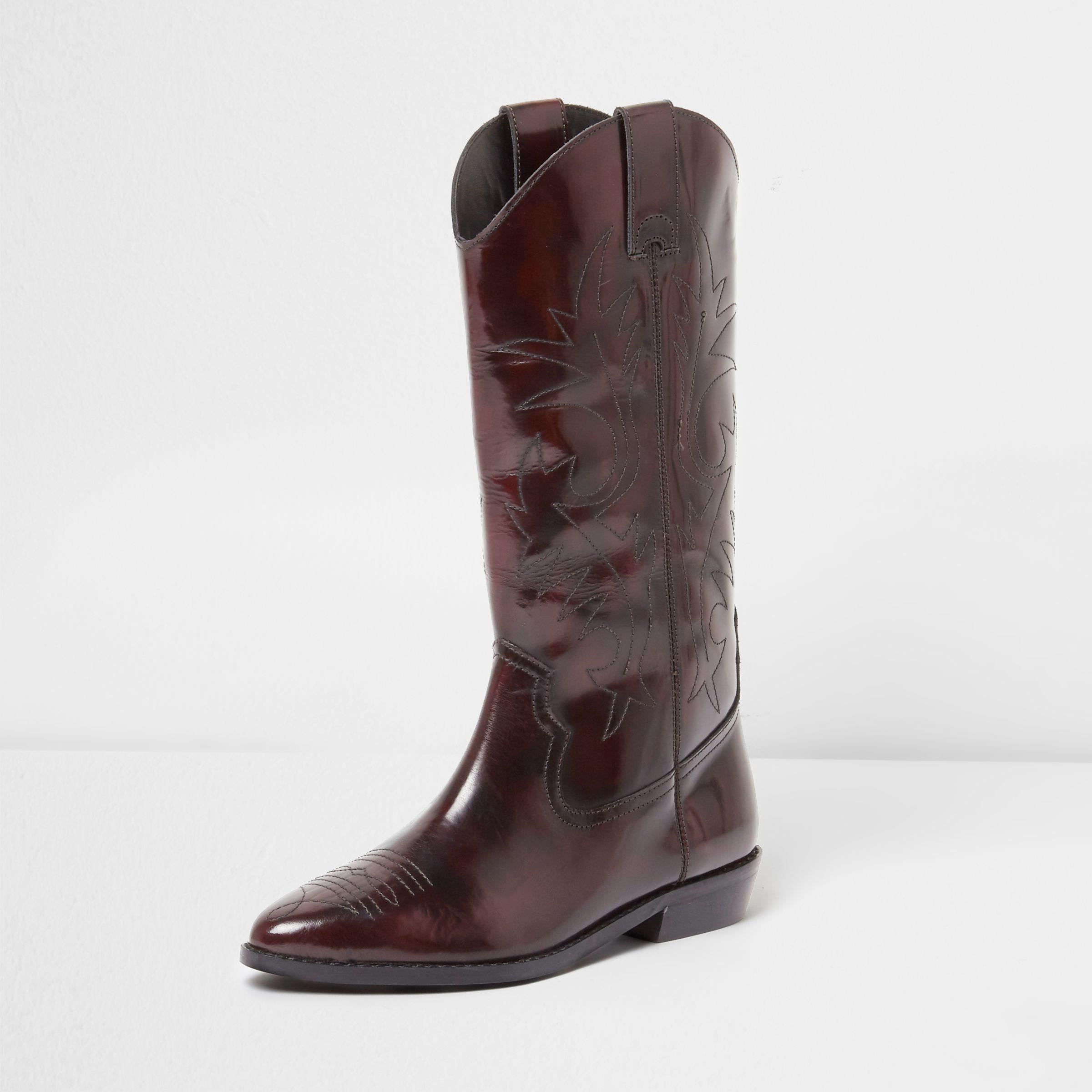 03fcf36156e Lyst - River Island Dark Patent Knee High Western Boots in Red
