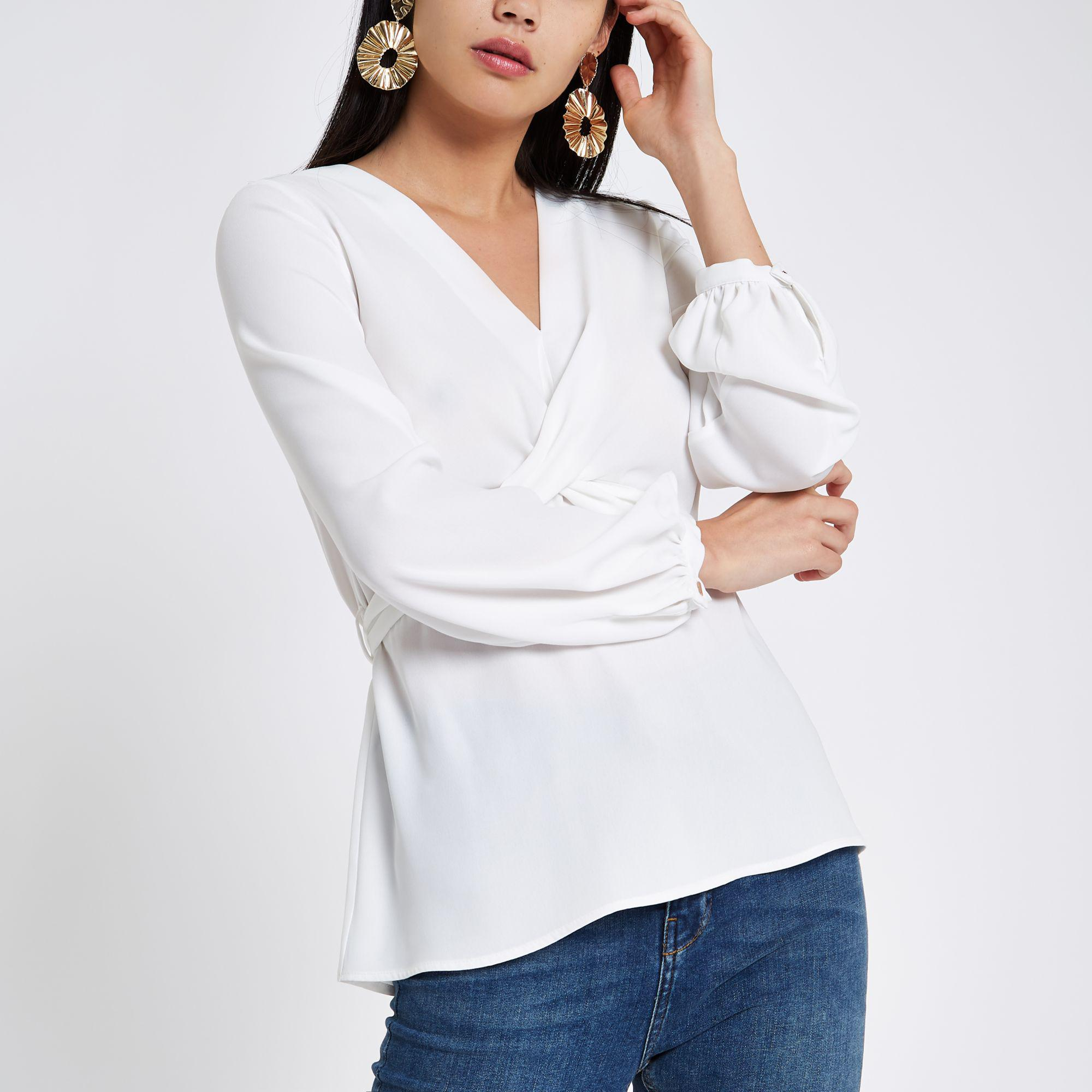 dc869ba496712 Lyst - River Island White Cross Front Tie Back Blouse in White