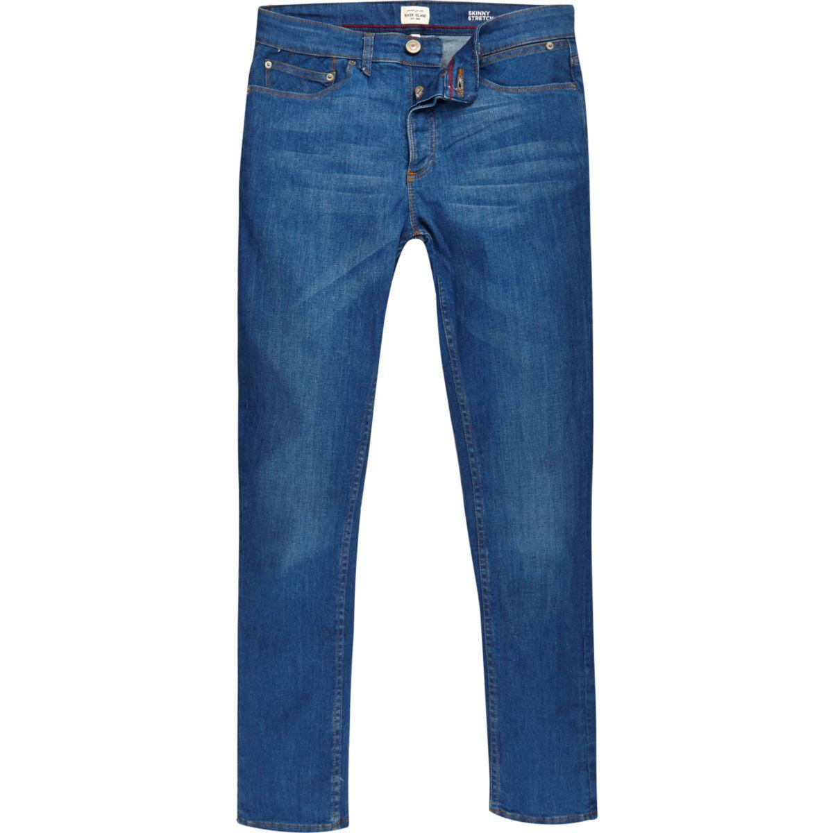 Lyst River Island Bright Blue Sid Skinny Stretch Jeans