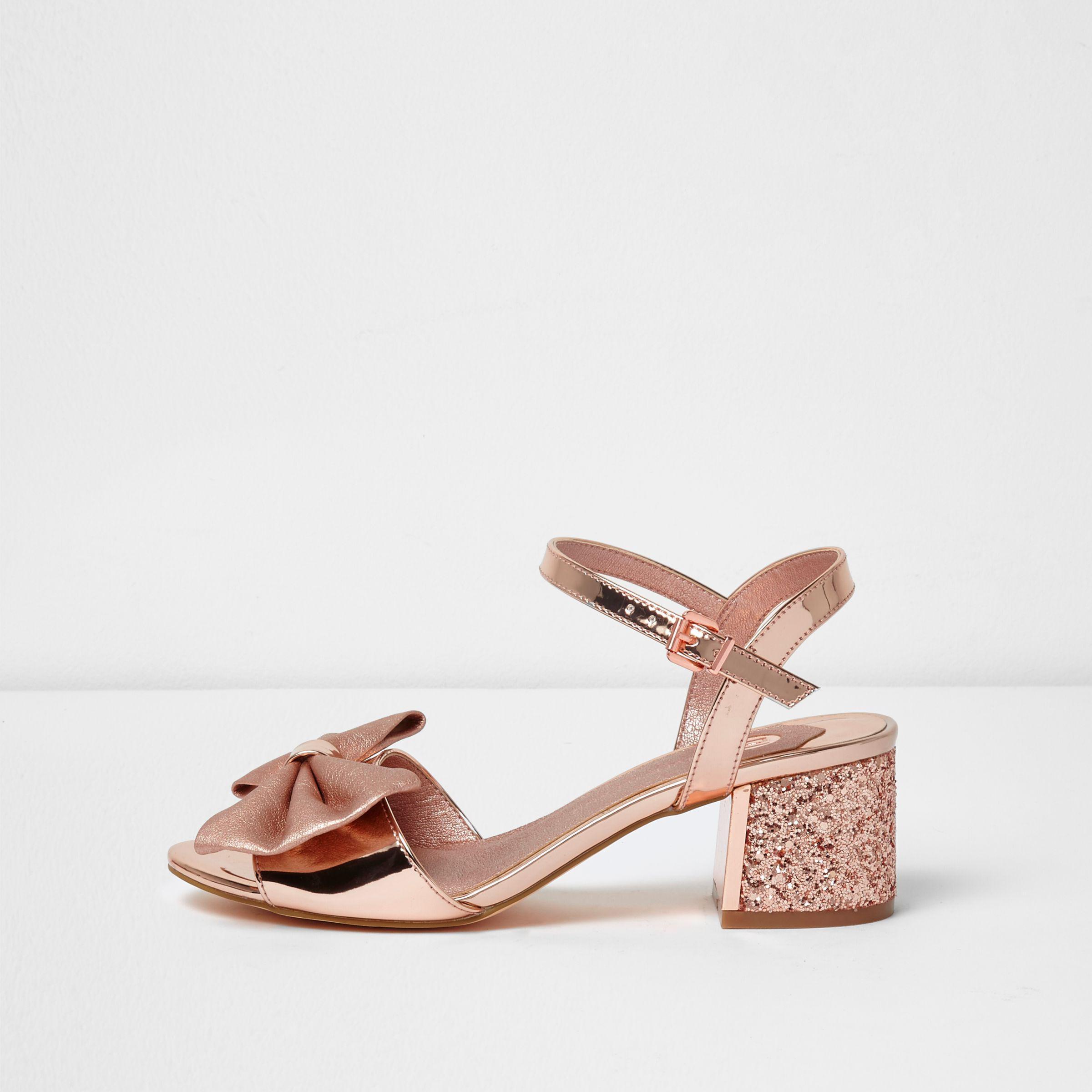 1c1040de96a River Island Rose Gold Metallic Bow Block Heel Sandals in Pink - Lyst