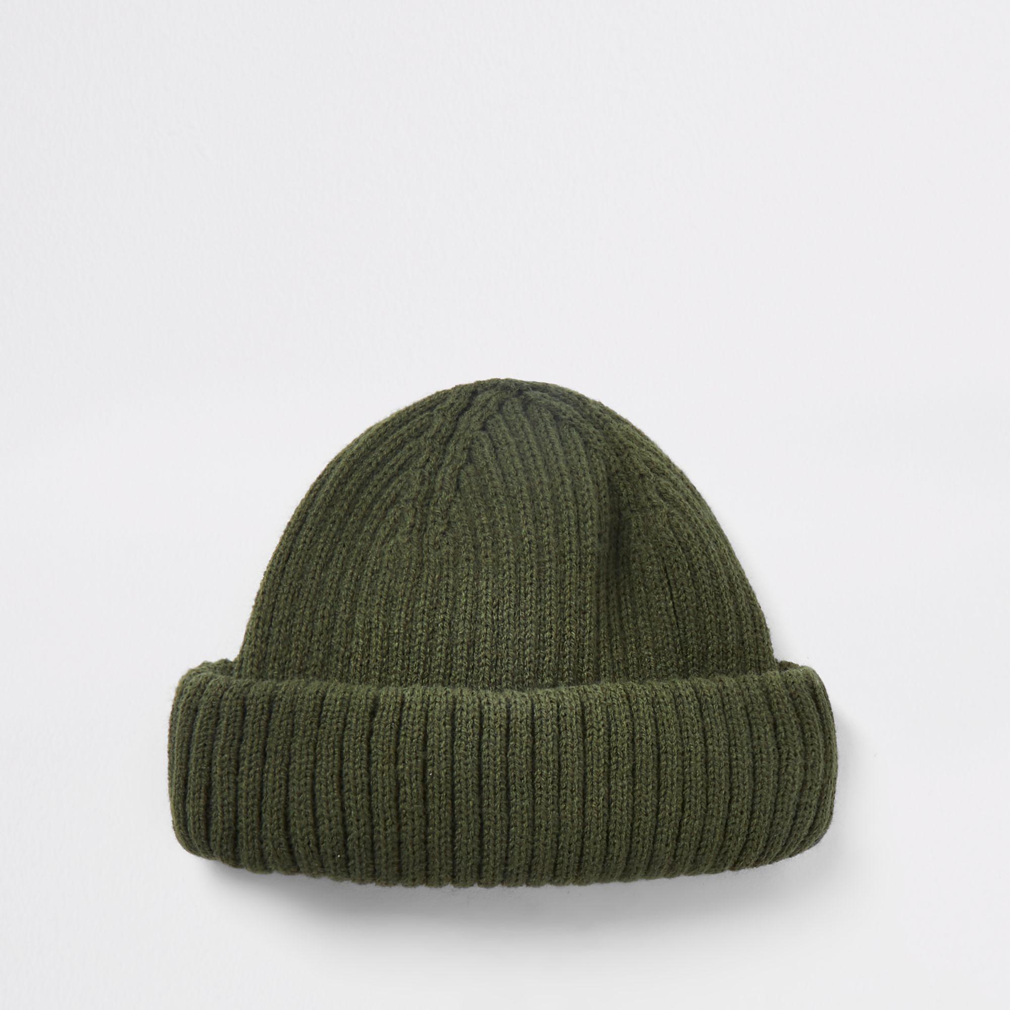 1a848c8daa0 Lyst - River Island Khaki Green Mini Fisherman Beanie Hat in Green ...