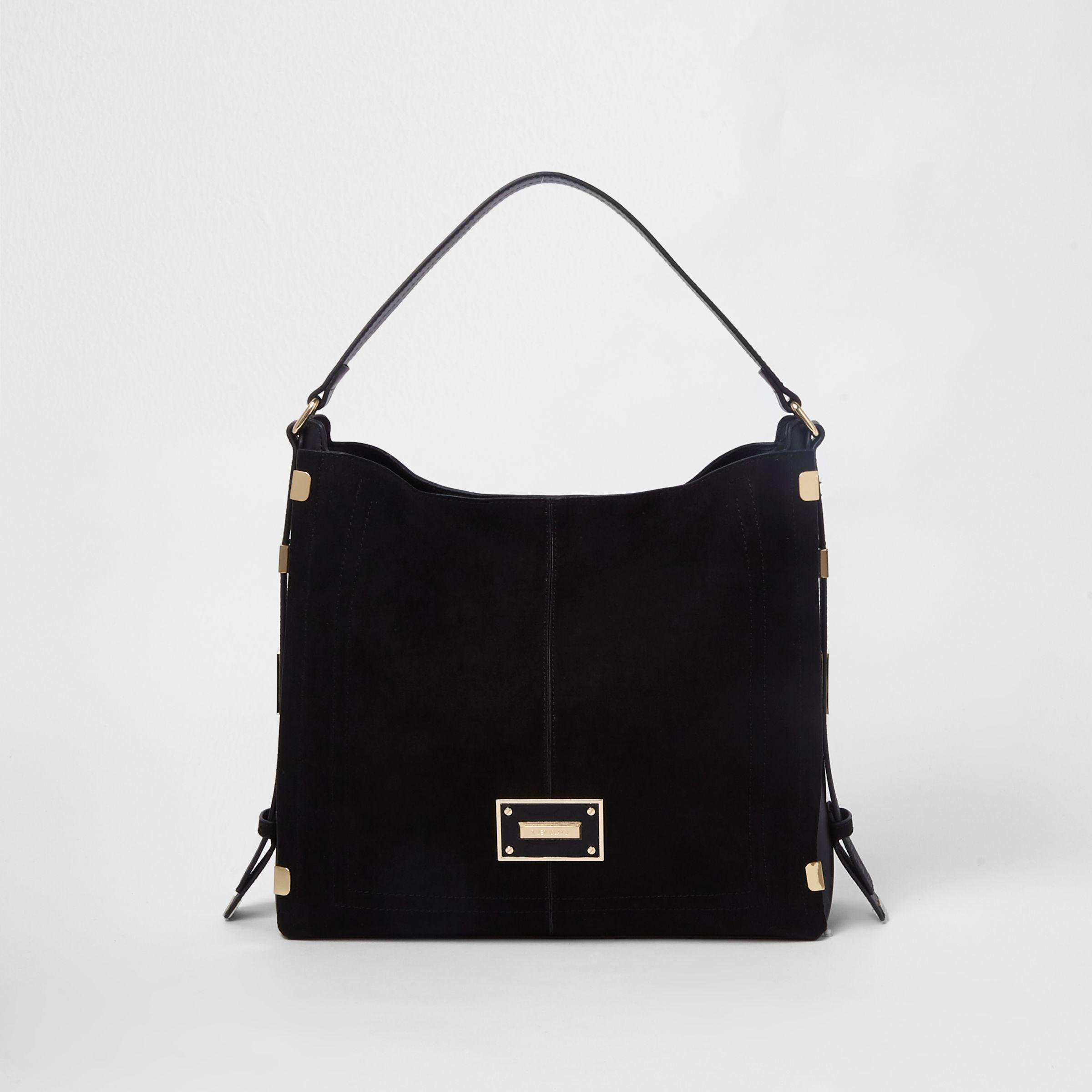 82dd92782a Lyst - River Island Black Side Tab Slouch Bag in Black