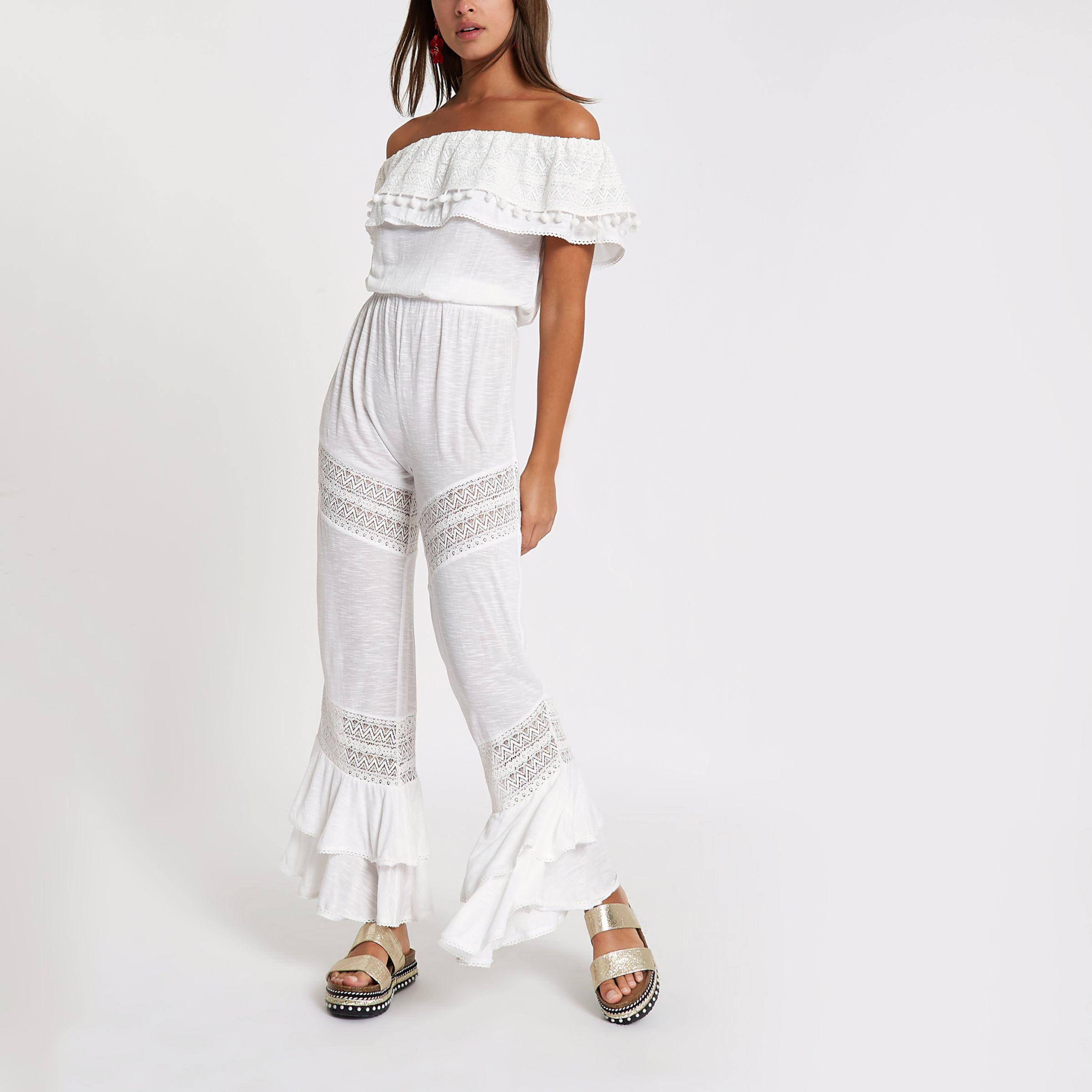 7377f1f024a Lyst - River Island White Jersey Bardot Frill Jumpsuit in White