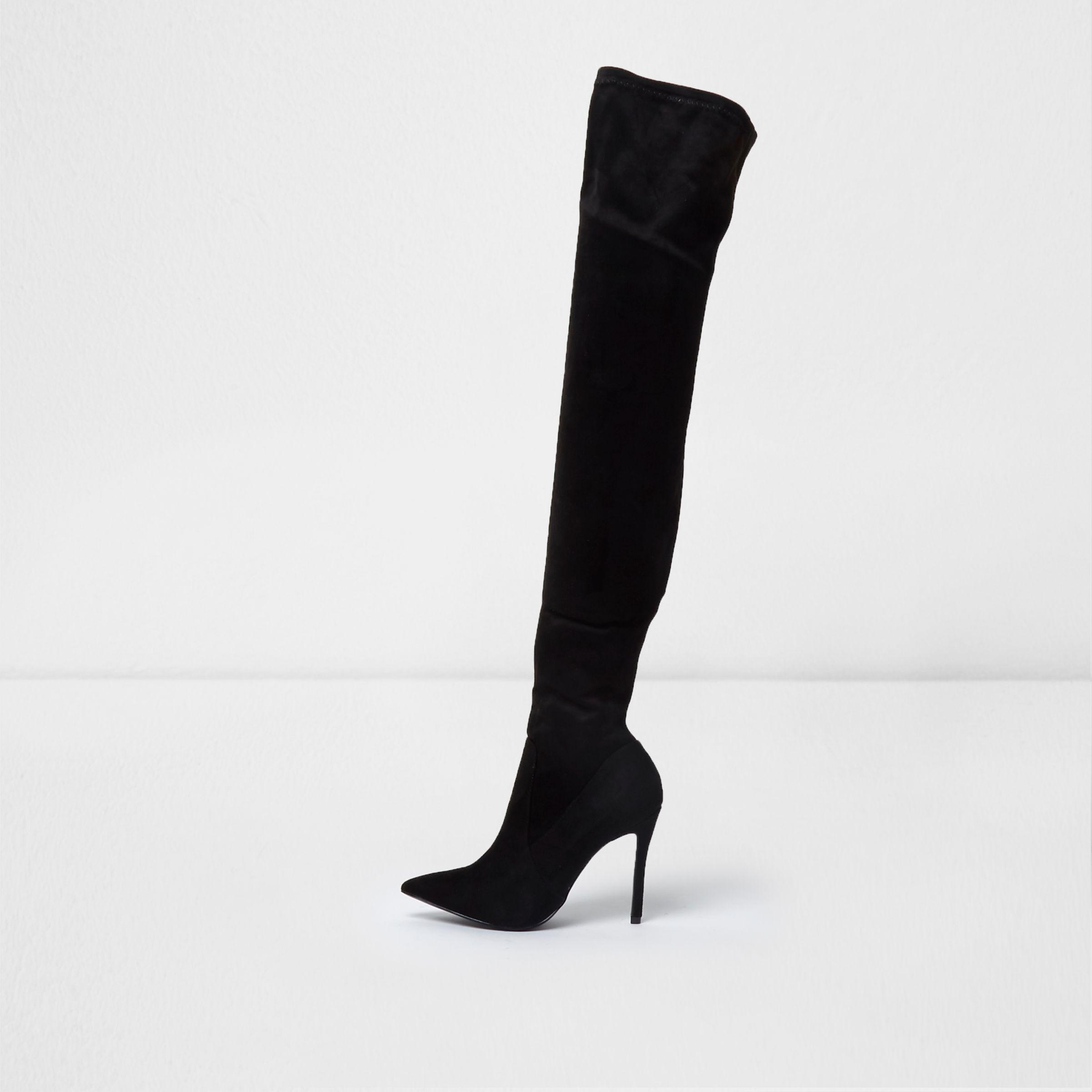 6f87a1665ae Lyst River Island Black Pointed Toe Over The Knee Sock Boots In